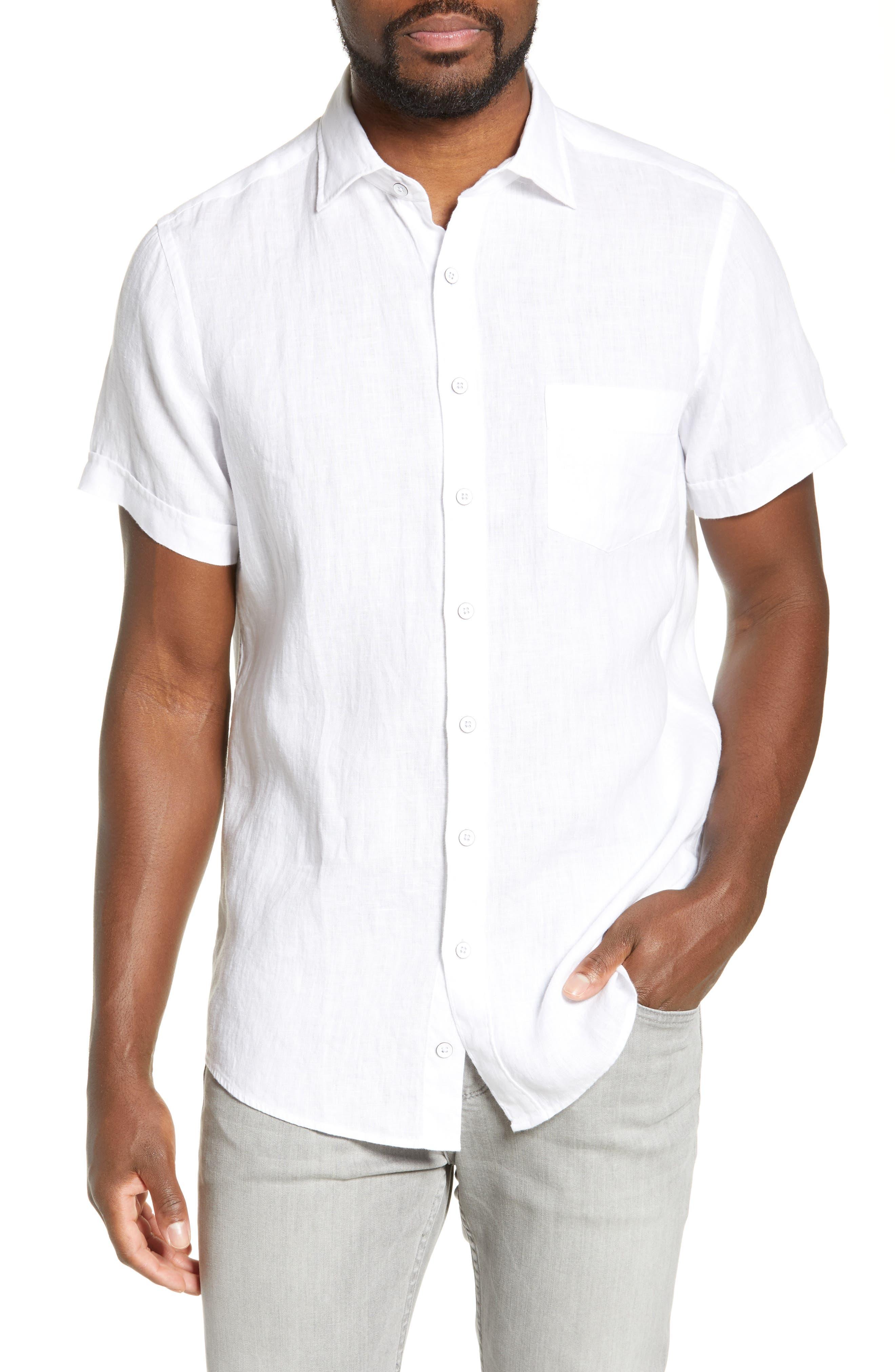 RODD & GUNN, Regular Fit Ellerslie Linen Shirt, Main thumbnail 1, color, IVORY