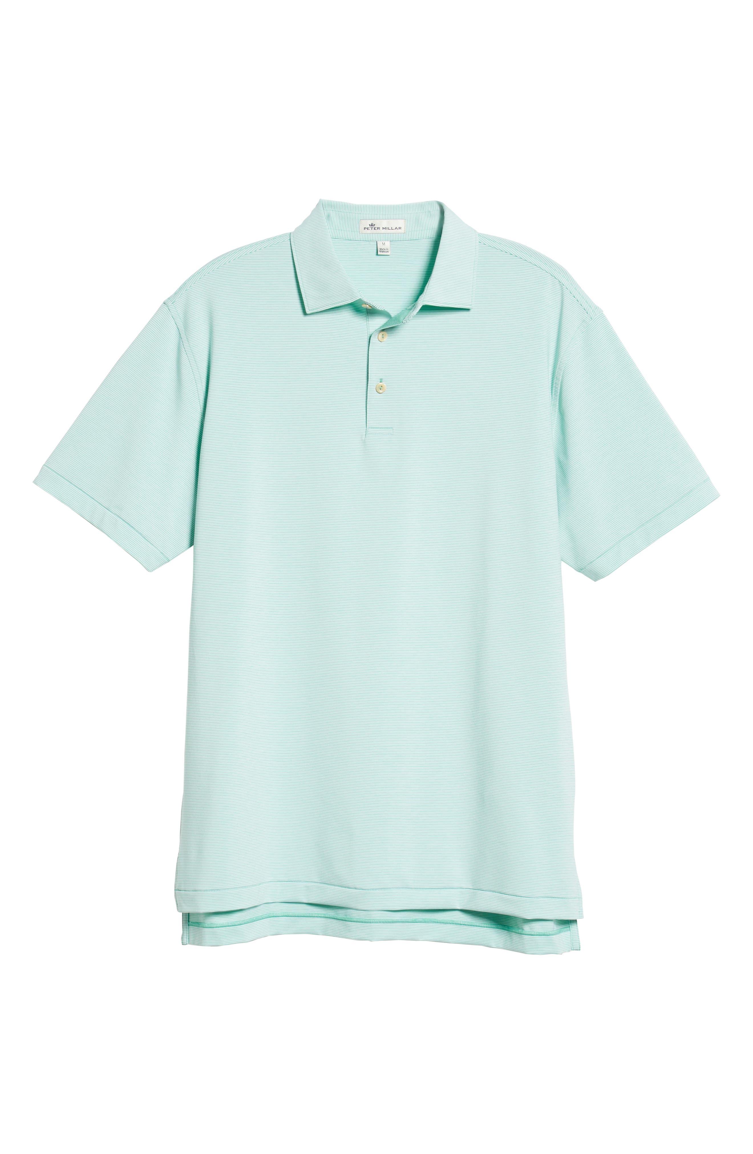 PETER MILLAR, Jubilee Stripe Jersey Polo, Alternate thumbnail 6, color, MEADOW