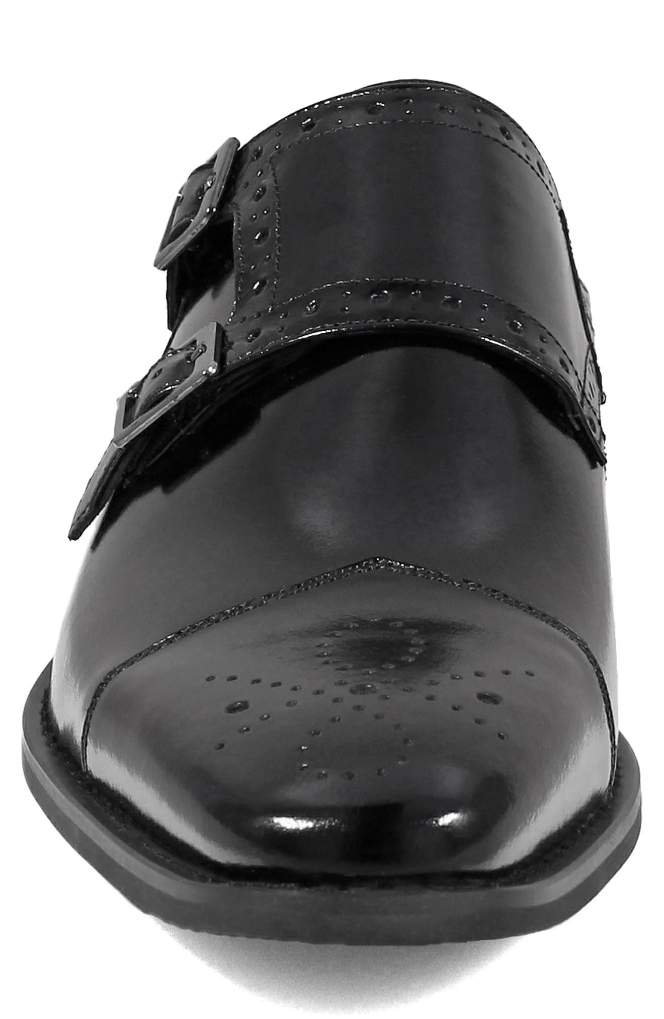 STACY ADAMS, Tayton Cap Toe Double Strap Monk Shoe, Alternate thumbnail 4, color, BLACK LEATHER