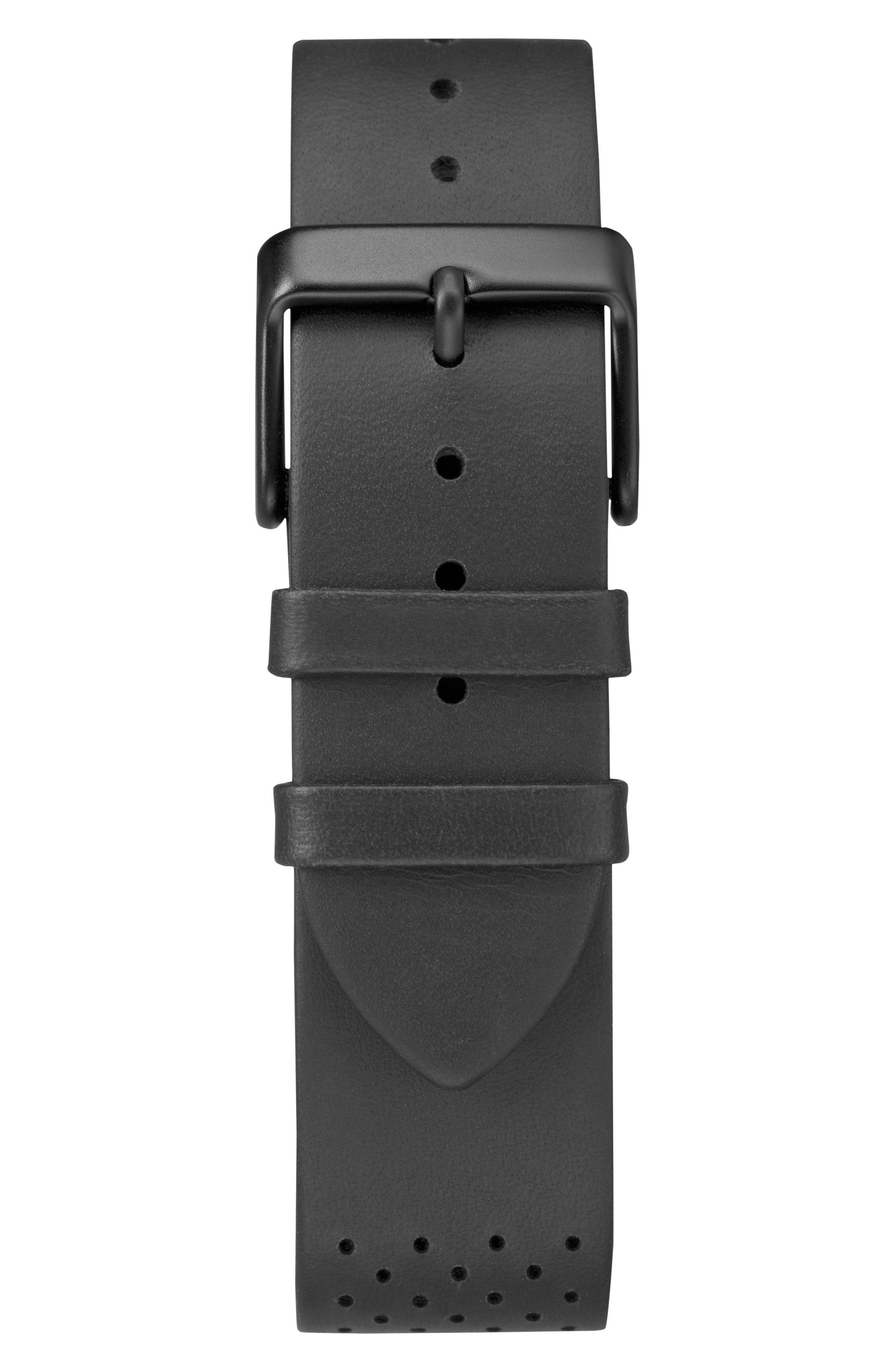 TIMEX<SUP>®</SUP>, Fairfield Chronograph Leather Strap Watch, 41mm, Alternate thumbnail 3, color, BLACK