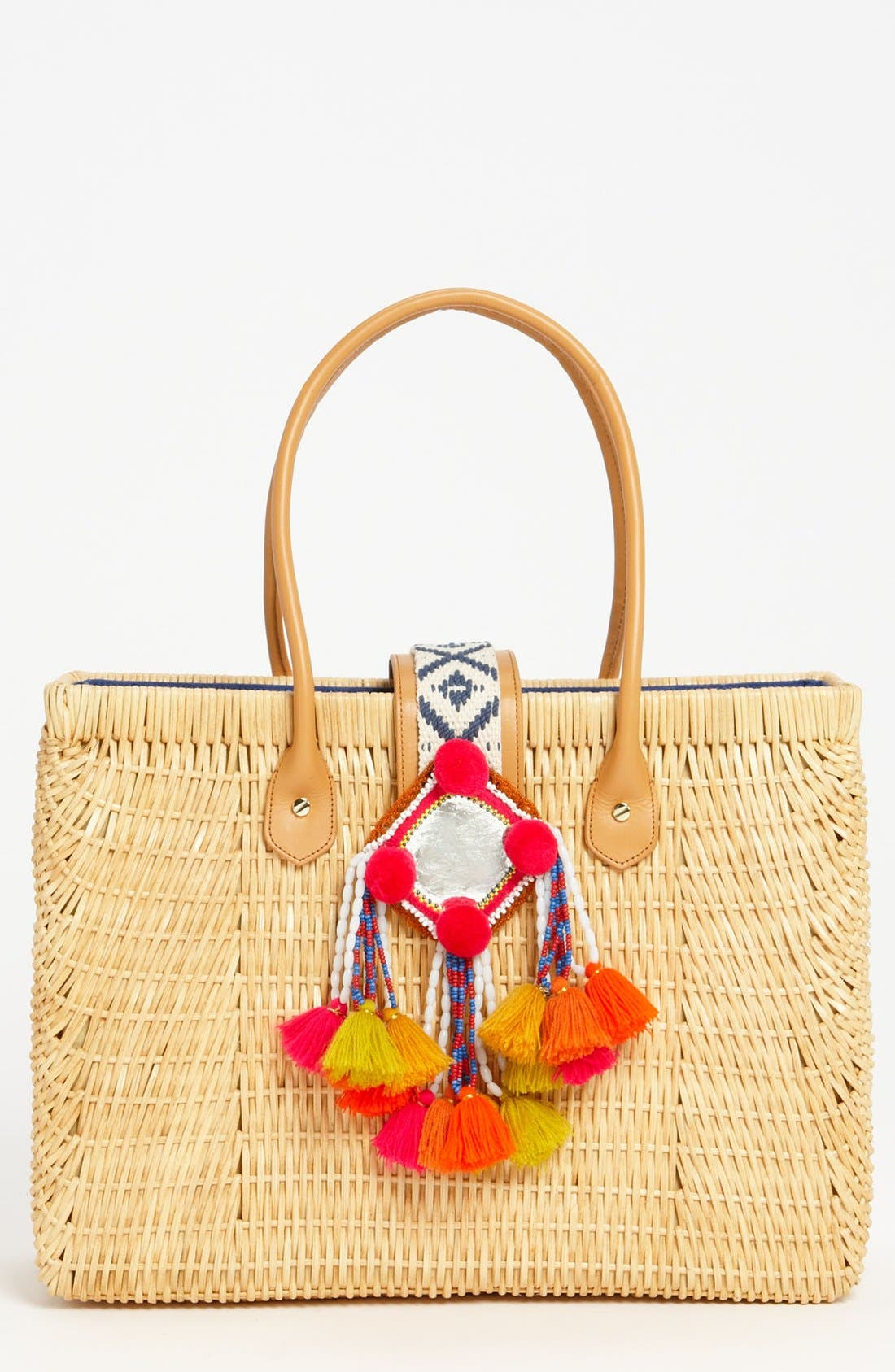 TORY BURCH, Rattan Tote, Main thumbnail 1, color, 282