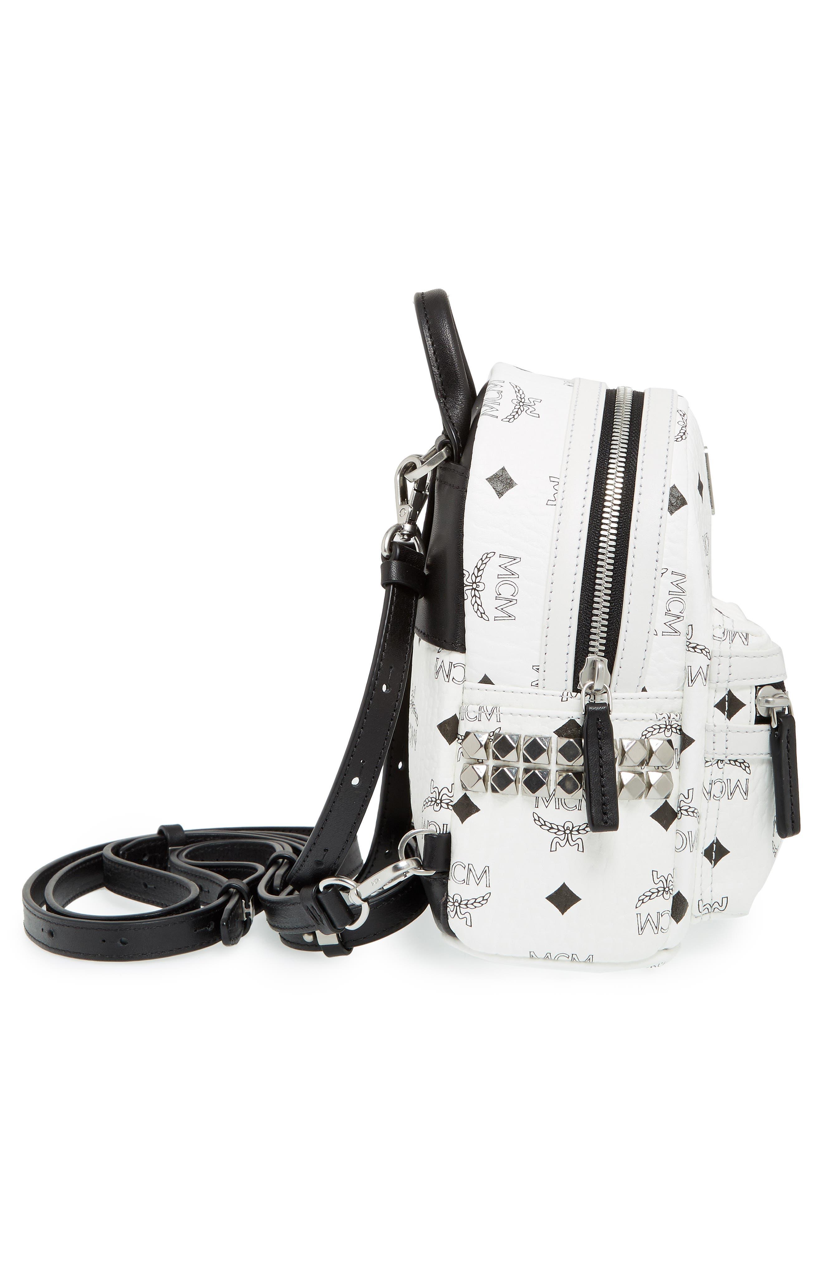 MCM, 'X-Mini Stark Side Stud' Convertible Backpack, Alternate thumbnail 2, color, WHITE