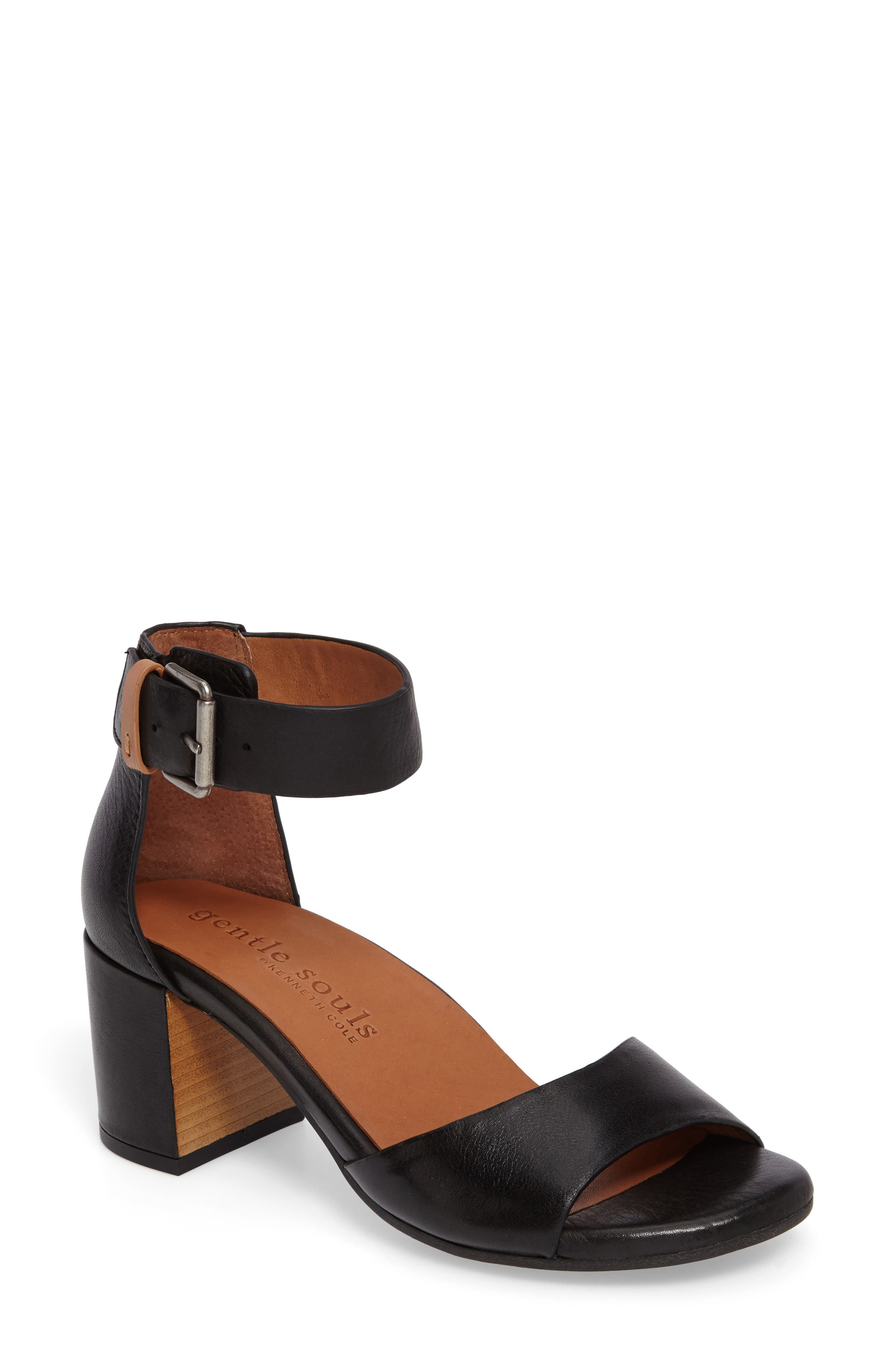 GENTLE SOULS BY KENNETH COLE, Christa Block Heel Sandal, Main thumbnail 1, color, BLACK LEATHER