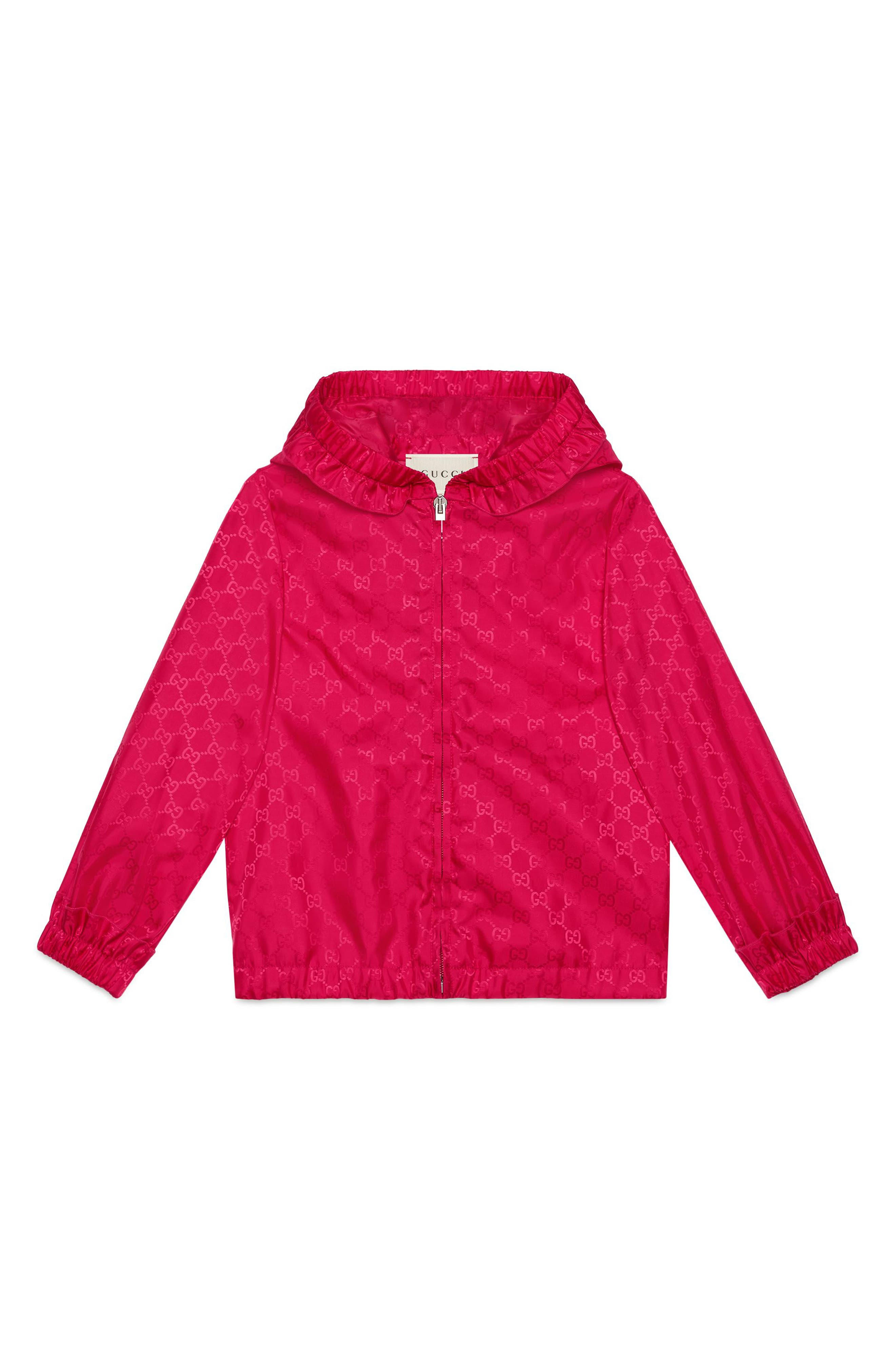 GUCCI, Water Resistant Hooded Windbreaker, Main thumbnail 1, color, FUXIA