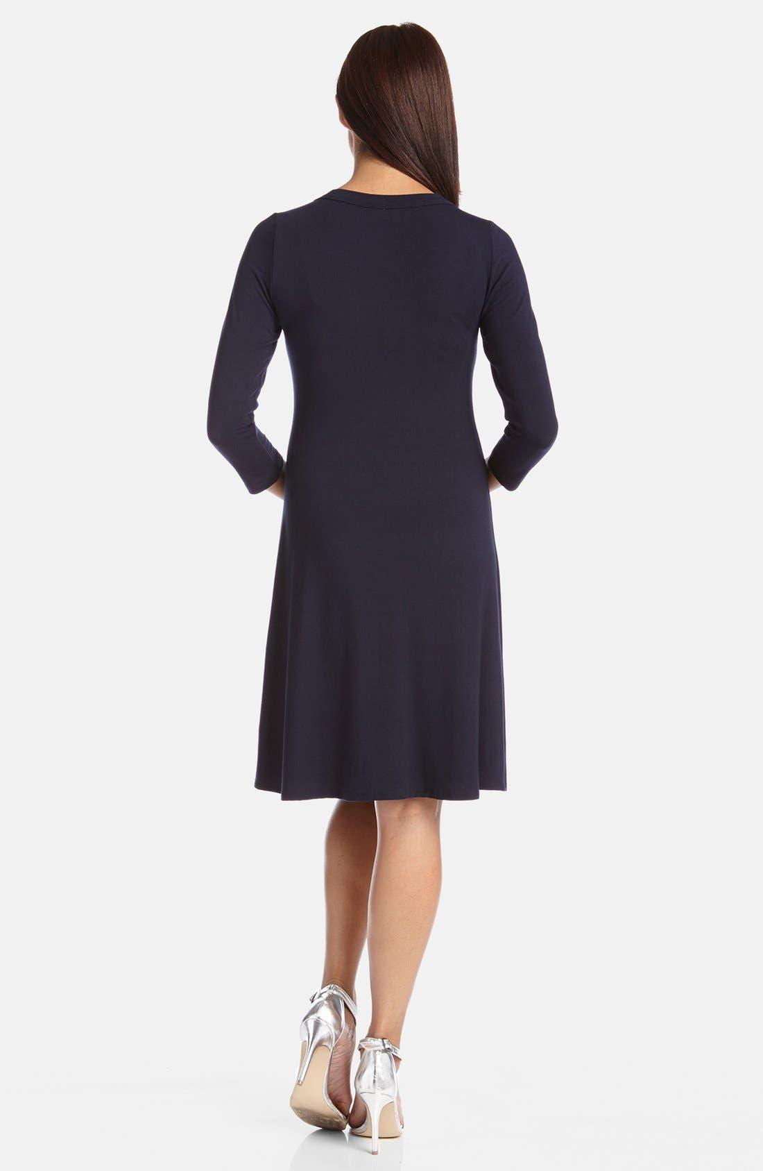 KAREN KANE, A-Line Jersey Dress, Alternate thumbnail 2, color, NAVY