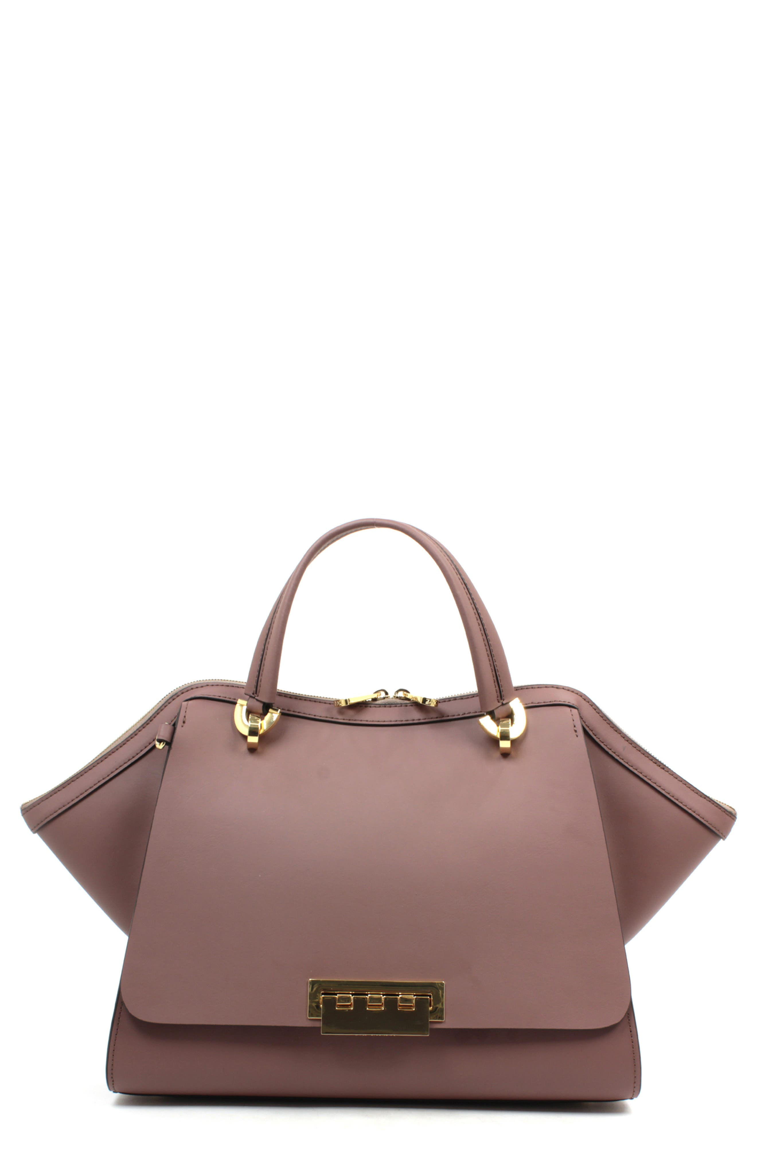 ZAC ZAC POSEN, 'Eartha Jumbo' Double Handle Satchel, Main thumbnail 1, color, FRENCH ROAST