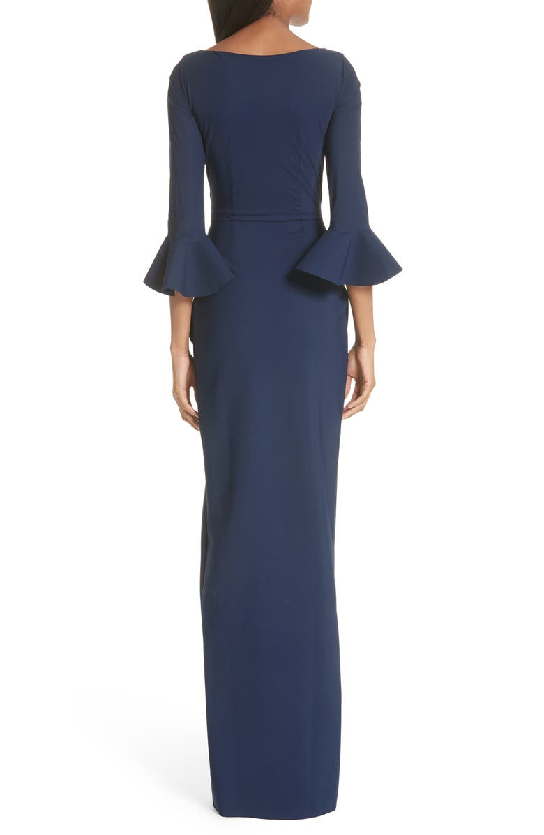 920bd95d9863 Chiara Boni La Petite Robe Ruched Bell Sleeve Evening Dress In Blue ...