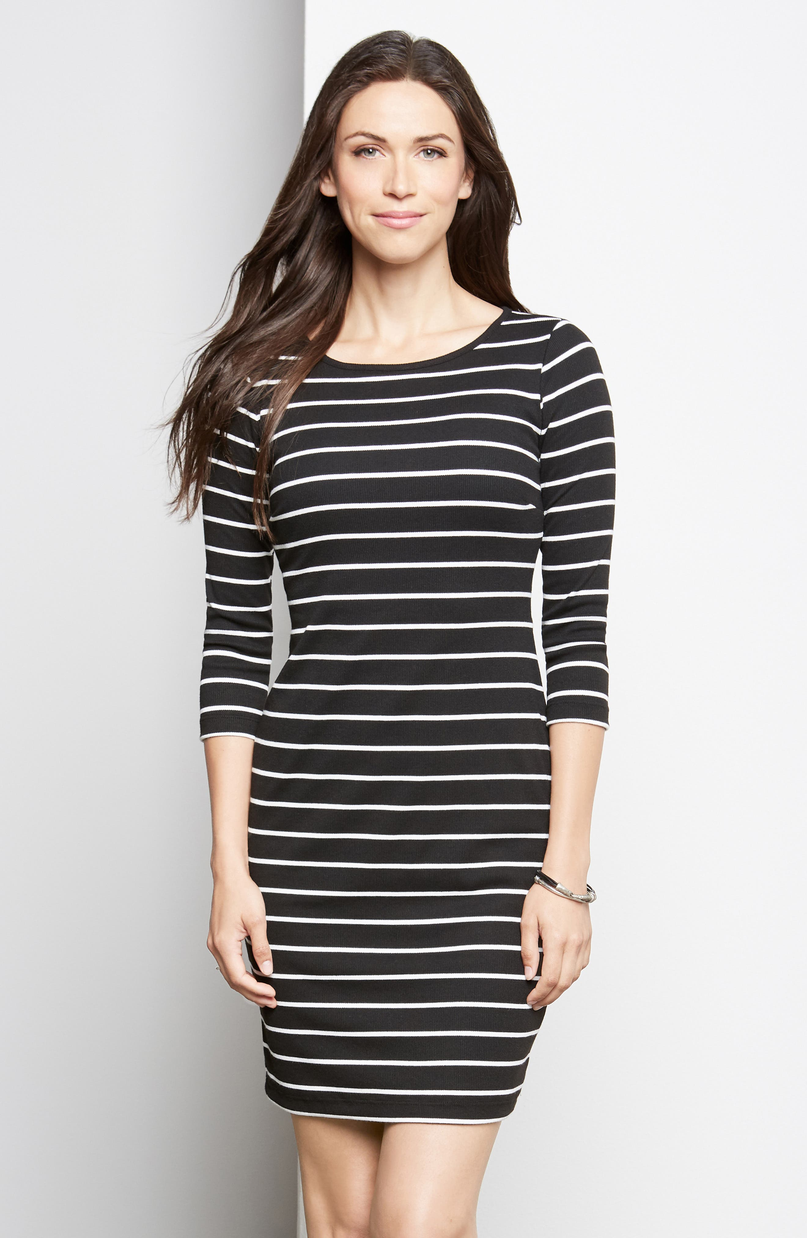KAREN KANE, Stripe Body-Con Dress, Alternate thumbnail 4, color, STRIPE
