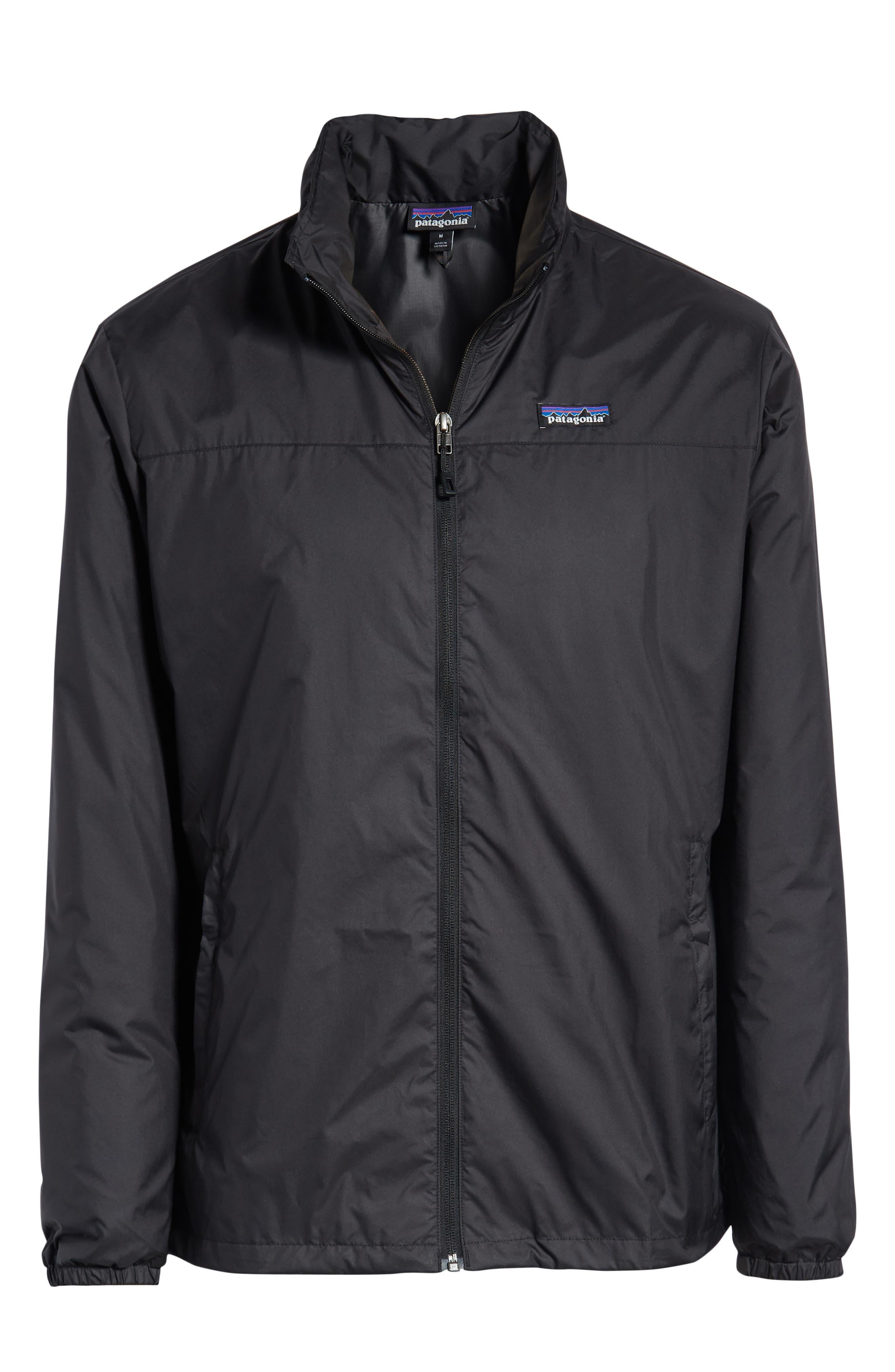 PATAGONIA, Light & Variable<sup>™</sup> Wind & Water Resistant Hooded Jacket, Alternate thumbnail 6, color, INK BLACK