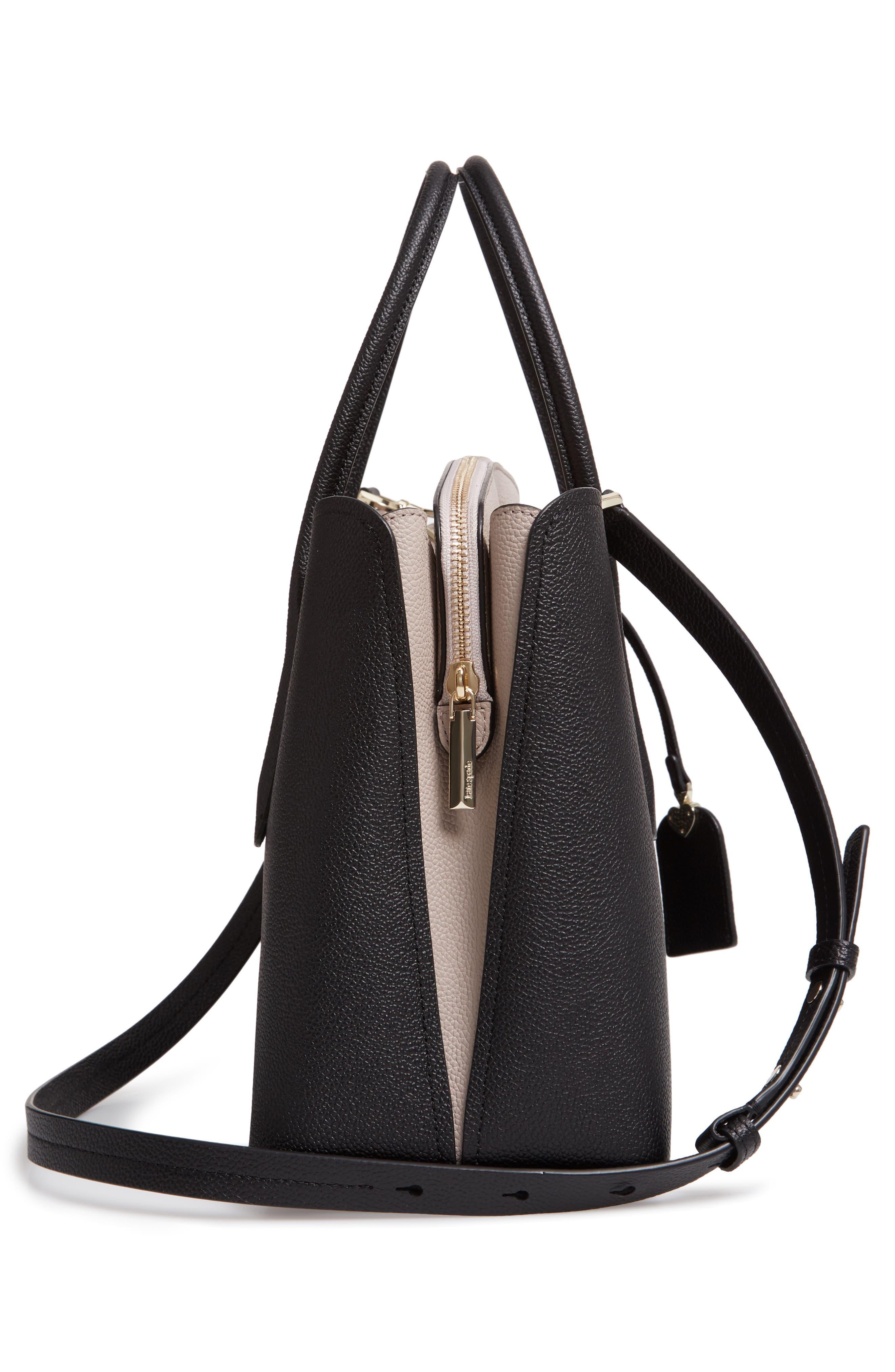 KATE SPADE NEW YORK, large margaux leather satchel, Alternate thumbnail 6, color, BLACK/ WARM TAUPE