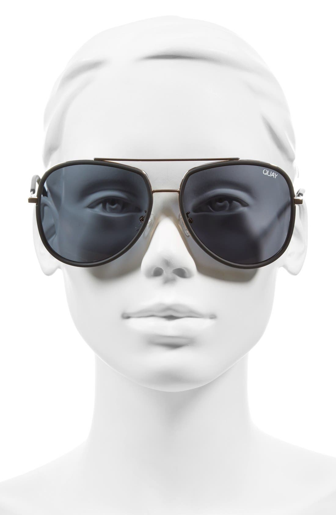 QUAY AUSTRALIA, 'Needing Fame' 65mm Aviator Sunglasses, Main thumbnail 1, color, BLACK/ SMOKE