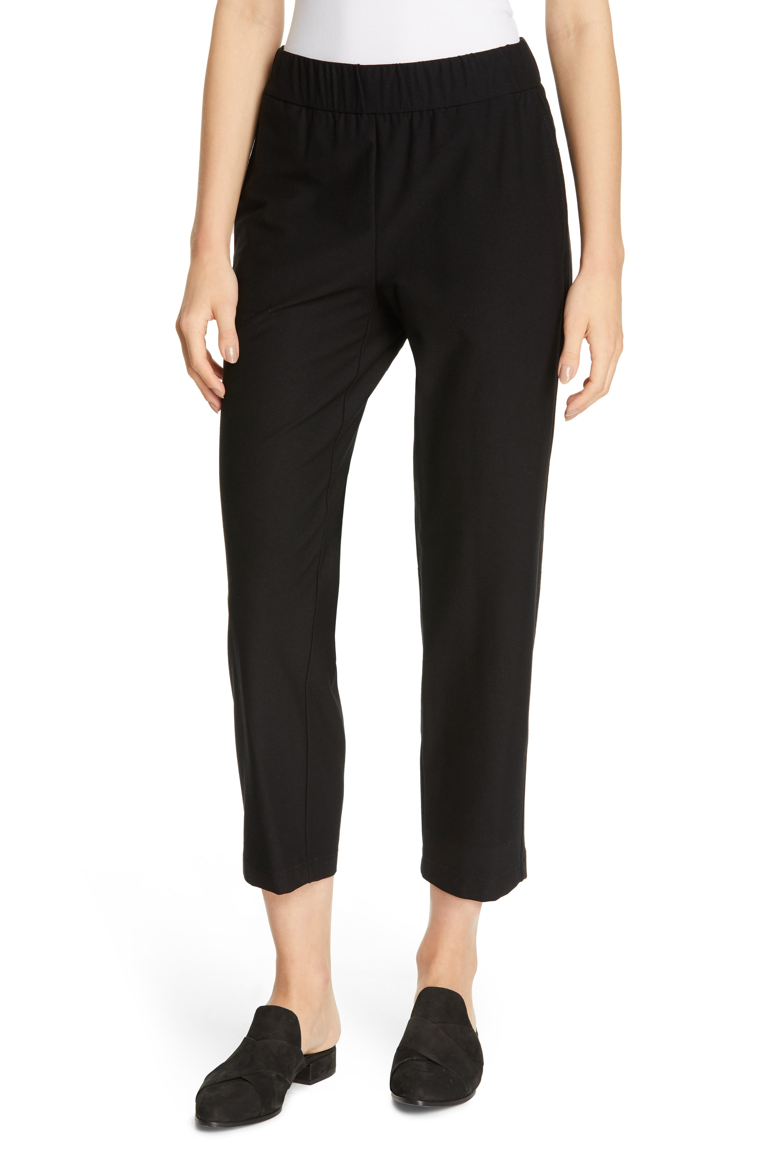 EILEEN FISHER, Tapered Ankle Pants, Main thumbnail 1, color, BLACK