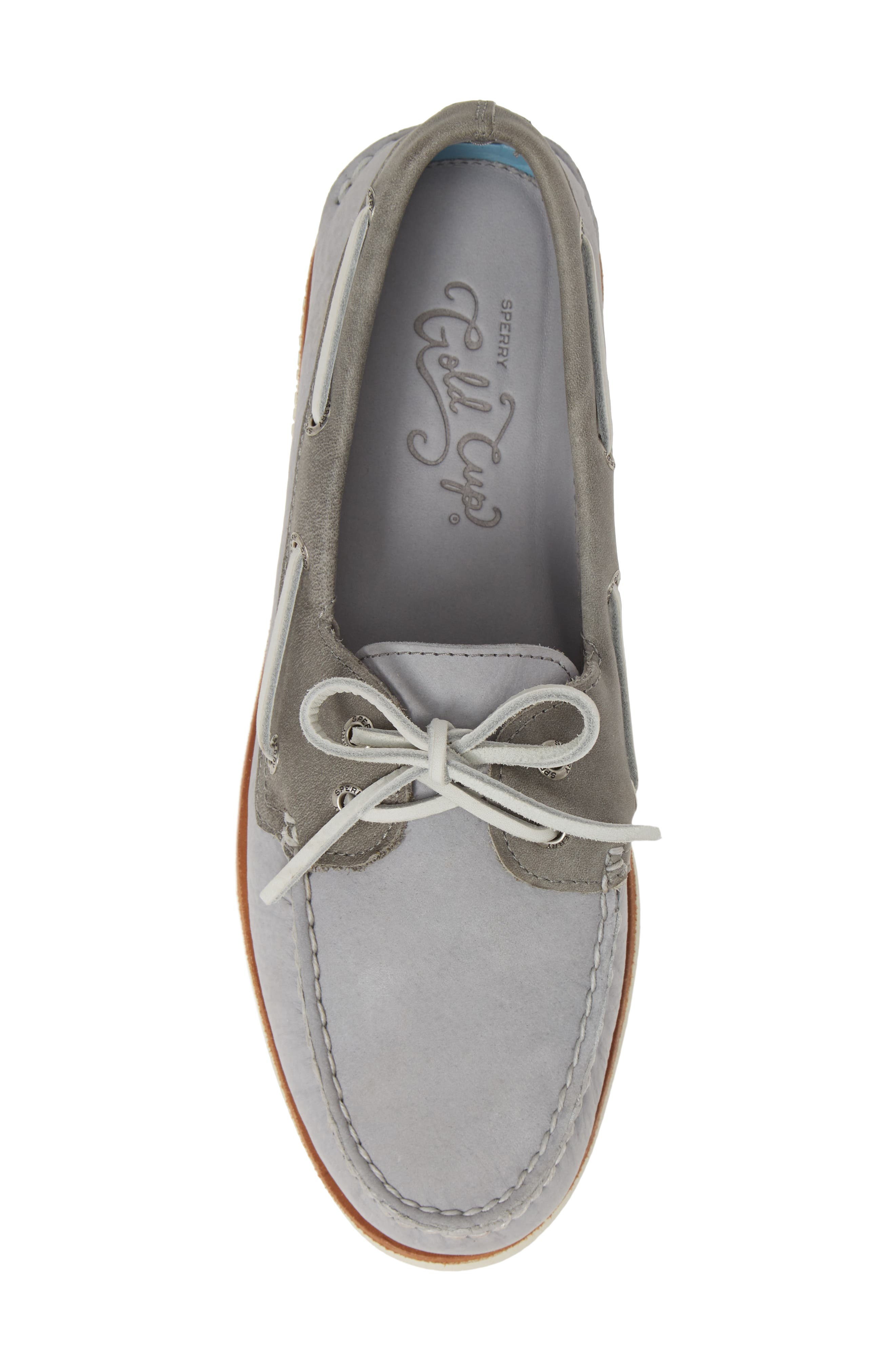SPERRY, 'Gold Cup - Authentic Original' Boat Shoe, Alternate thumbnail 5, color, GREY/GREY LEATHER