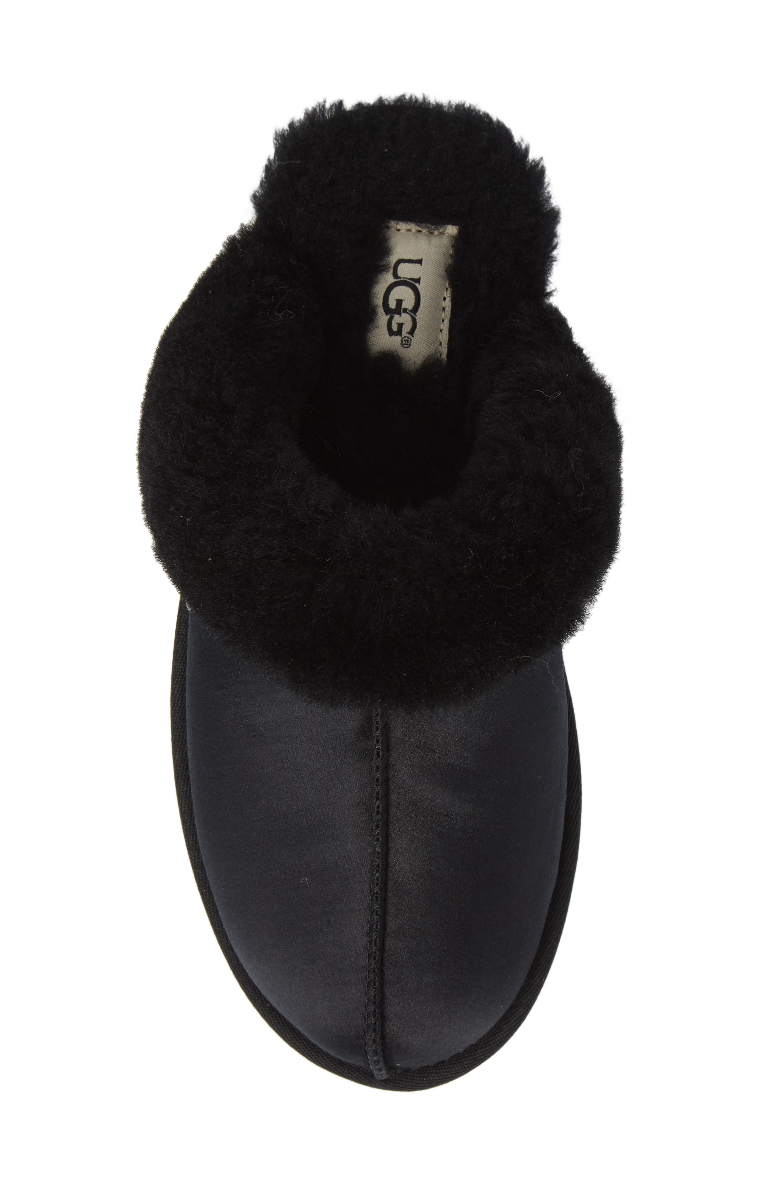 UGG<SUP>®</SUP>, Scuffette II Satin Slipper, Alternate thumbnail 5, color, 001