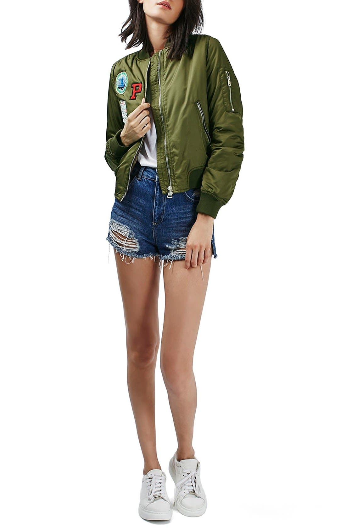 TOPSHOP, 'Bruce' Patch Detail MA1 Bomber Jacket, Alternate thumbnail 5, color, 300