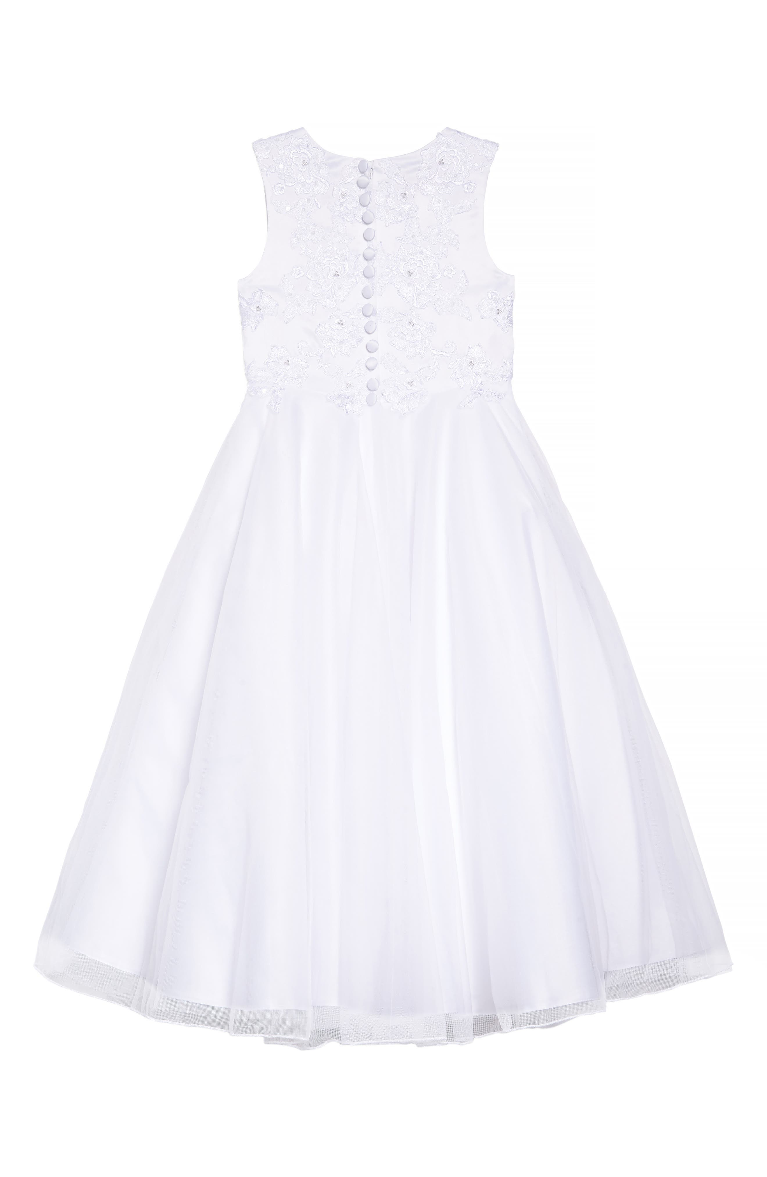 LAUREN MARIE, Embroidered Bodice Tulle Dress, Alternate thumbnail 4, color, WHITE