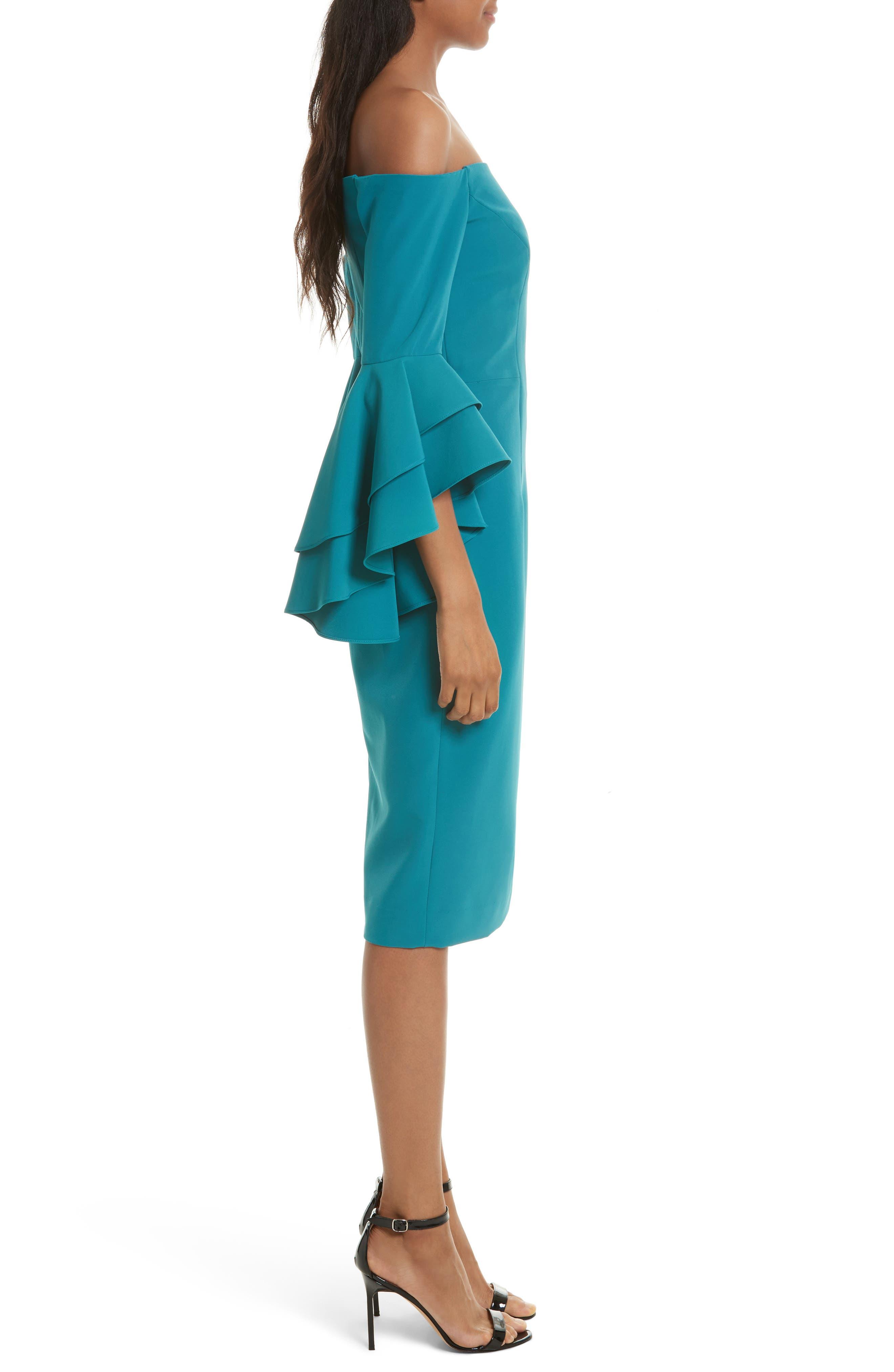 MILLY, Selena Off the Shoulder Midi Dress, Alternate thumbnail 3, color, 442