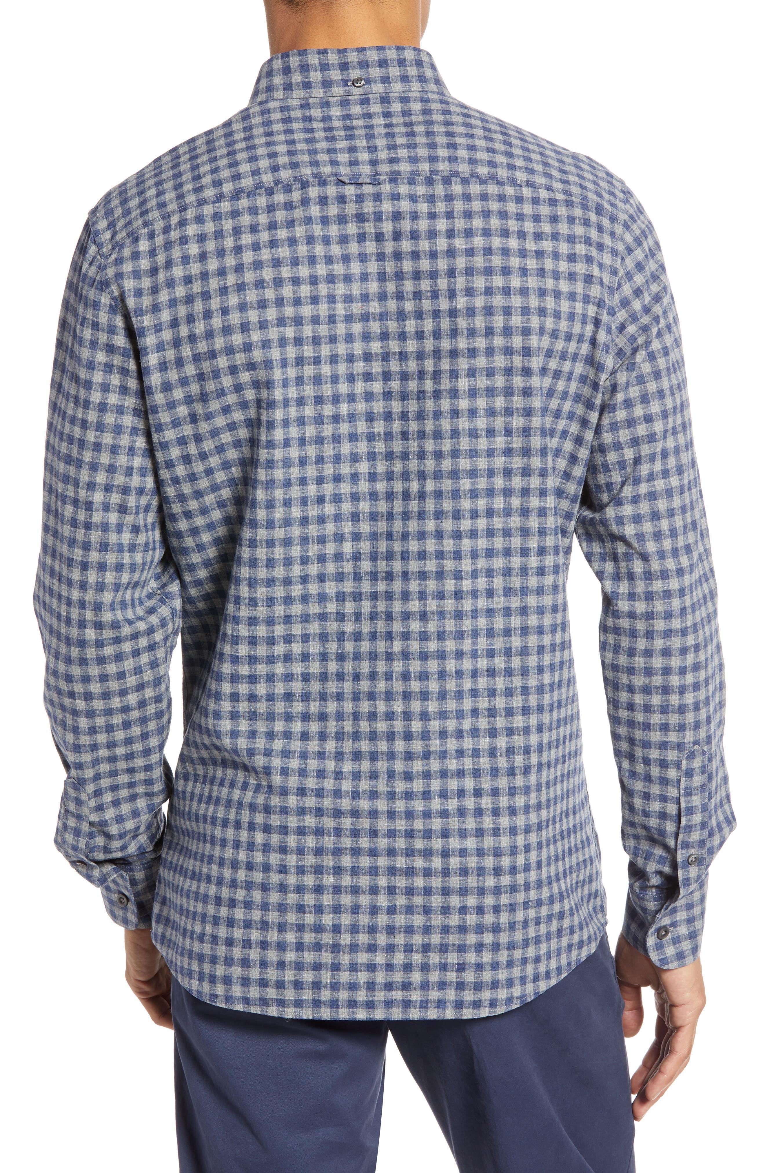 1901, Heather Gingham Linen Blend Slim Fit Sport Shirt, Alternate thumbnail 3, color, GREY OIL NAVY GINGHAM