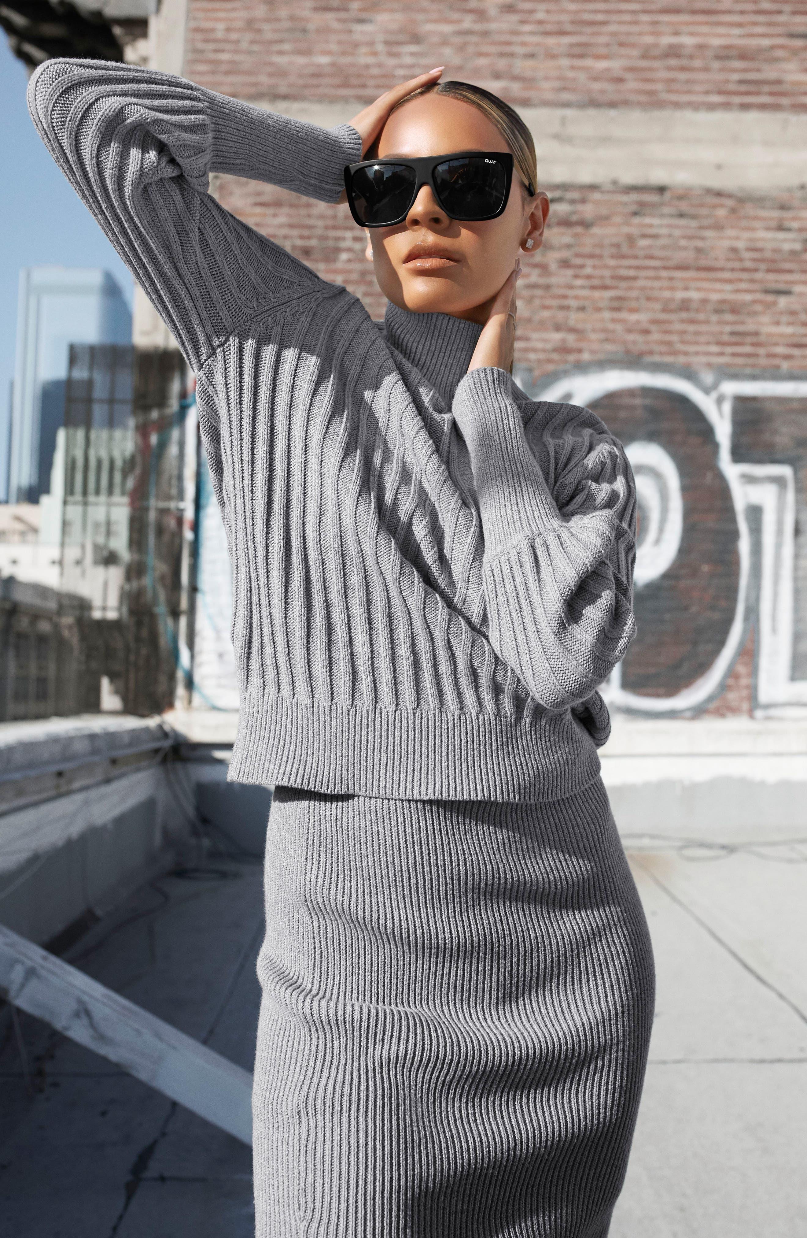 QUAY AUSTRALIA, x Desi Perkins On the Low 60mm Square Sunglasses, Alternate thumbnail 4, color, BLACK/ SMOKE