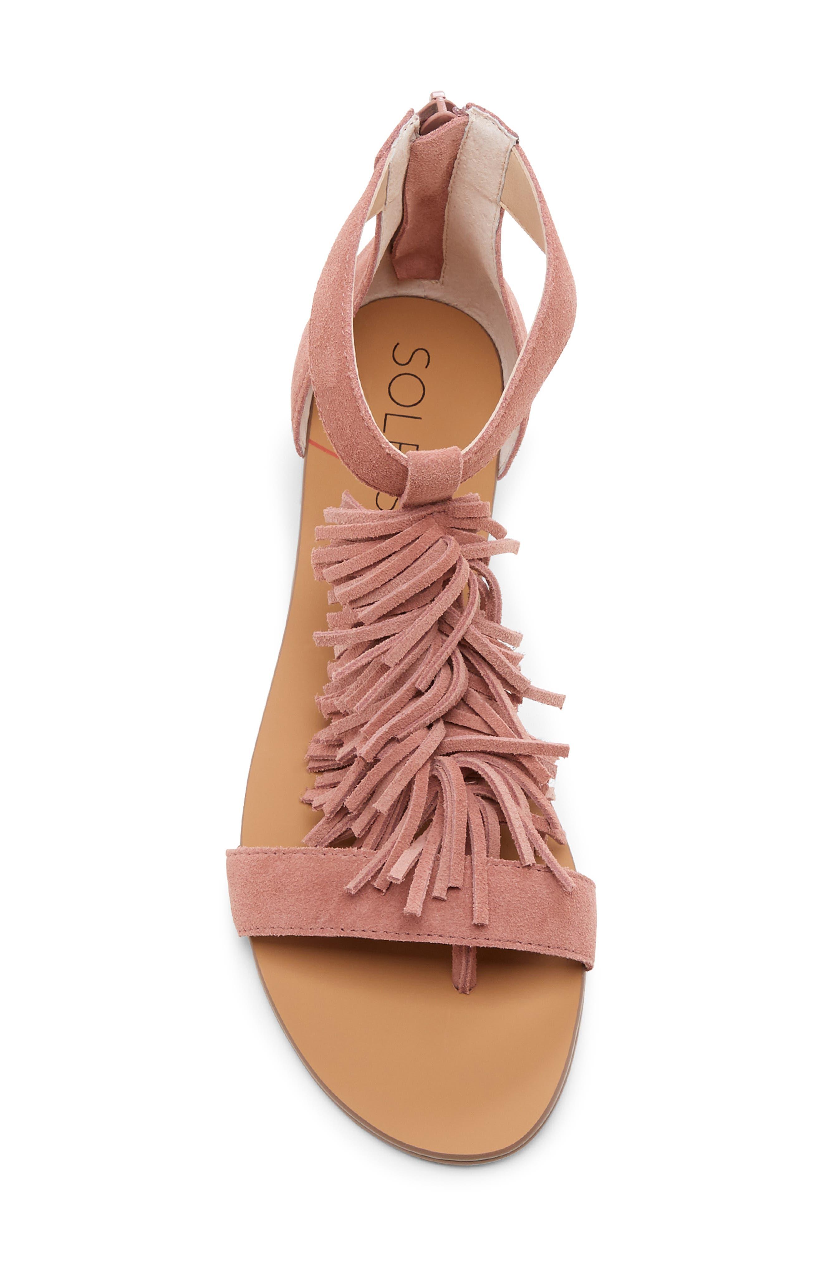 SOLE SOCIETY, 'Koa' Fringe T-Strap Flat Sandal, Alternate thumbnail 5, color, MOD MAUVE SUEDE