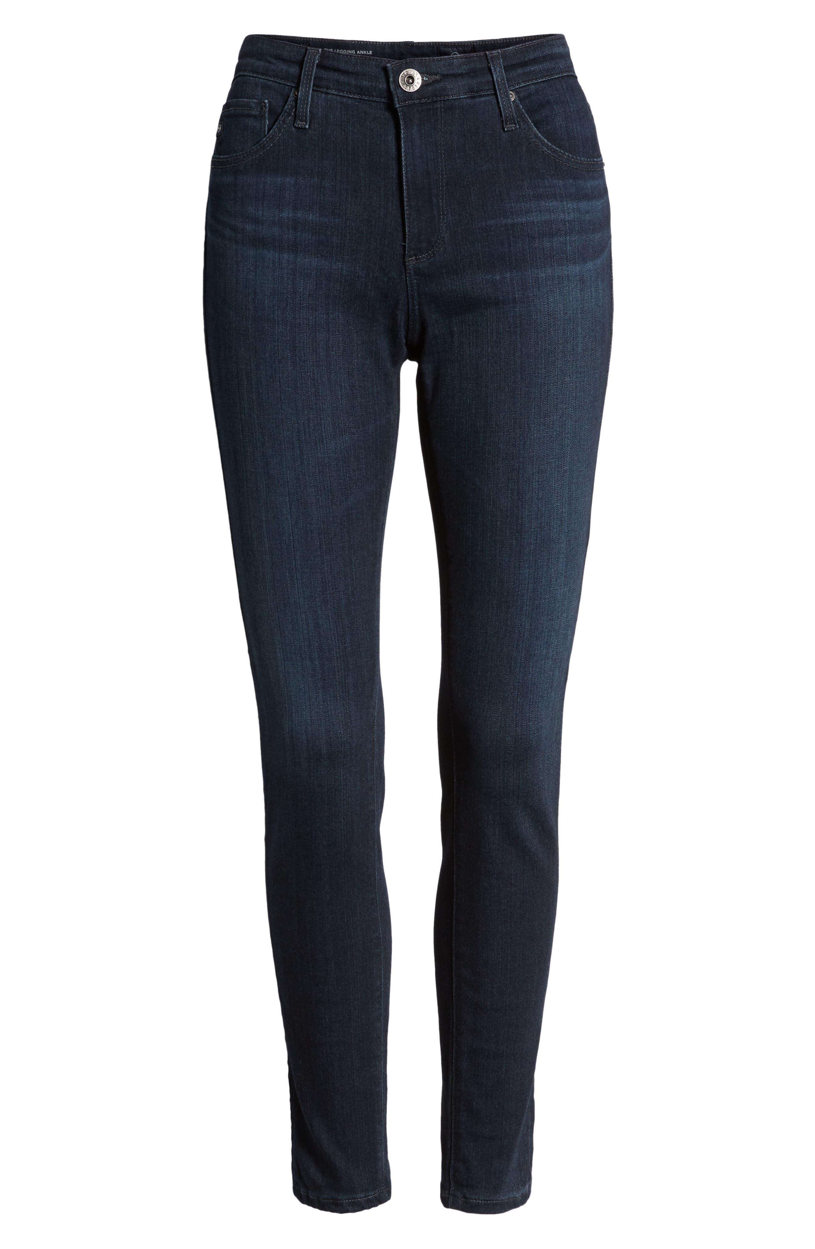 AG, The Legging Ankle Super Skinny Jeans, Alternate thumbnail 5, color, COAL BLUE