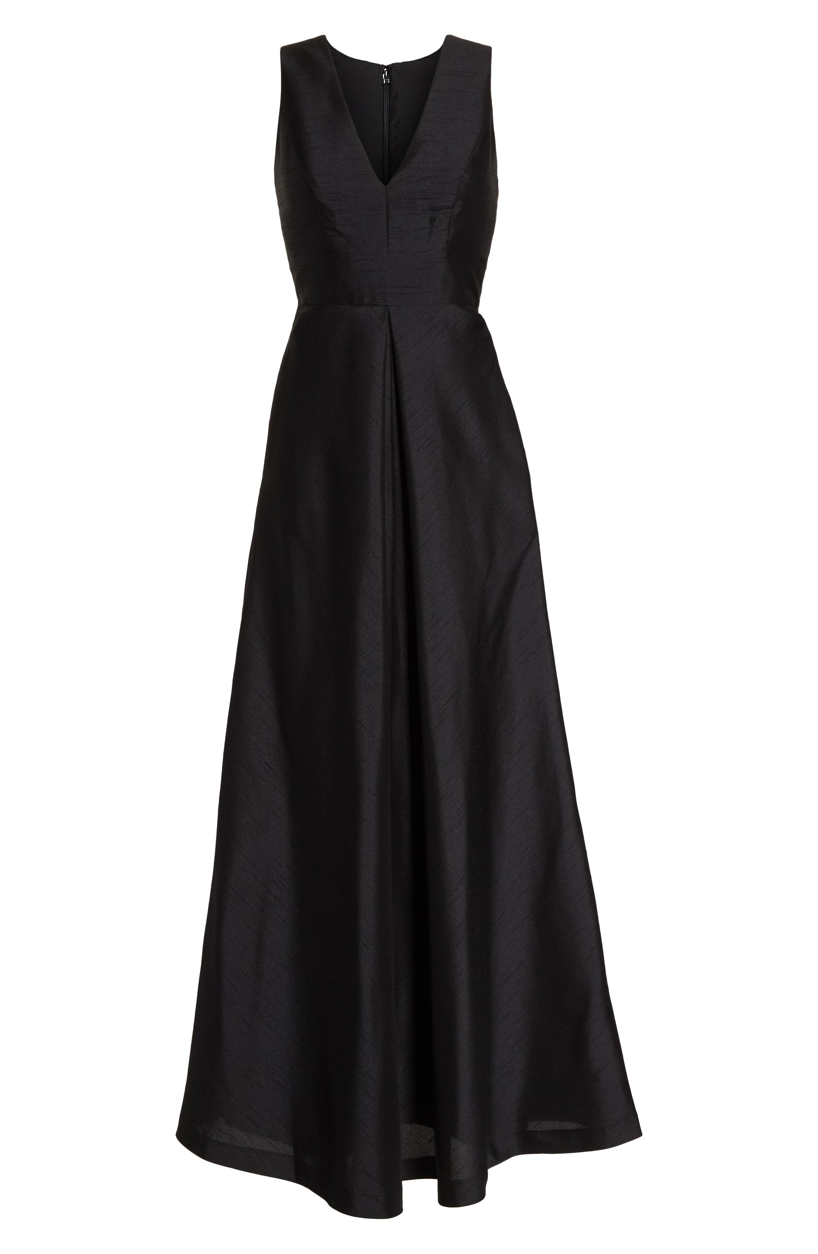 Alfred Sung V-Neck Dupioni Evening Gown, Black