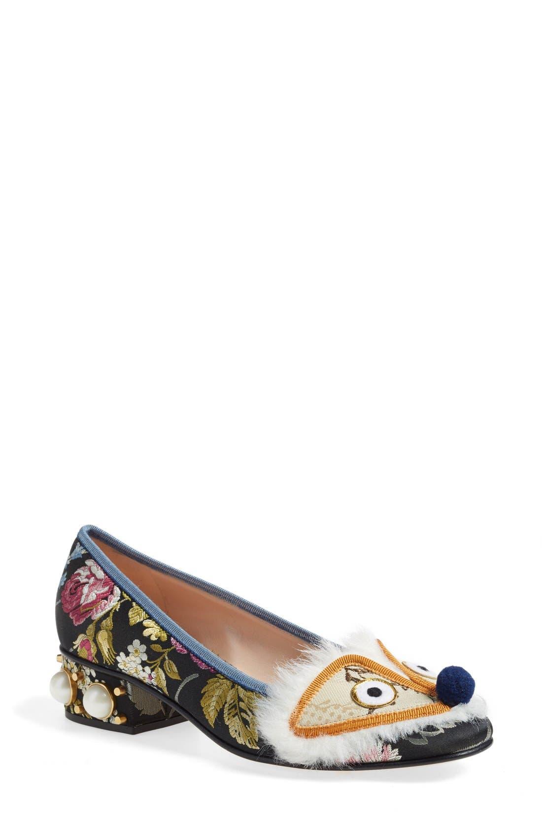GUCCI, 'Kimberly' Embellished Pump, Main thumbnail 1, color, 020