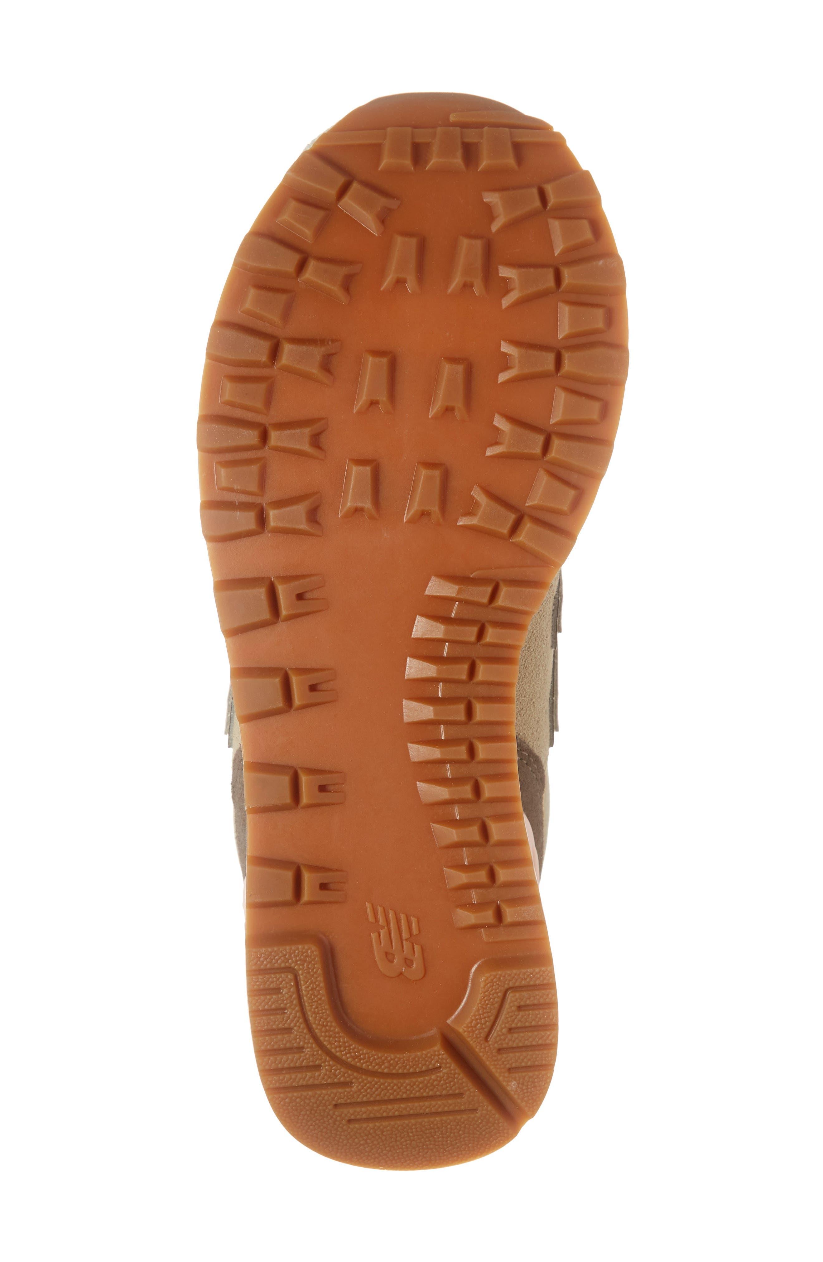 NEW BALANCE, 574 Metallic Patch Sneaker, Alternate thumbnail 6, color, LIGHT CLIFF GREY