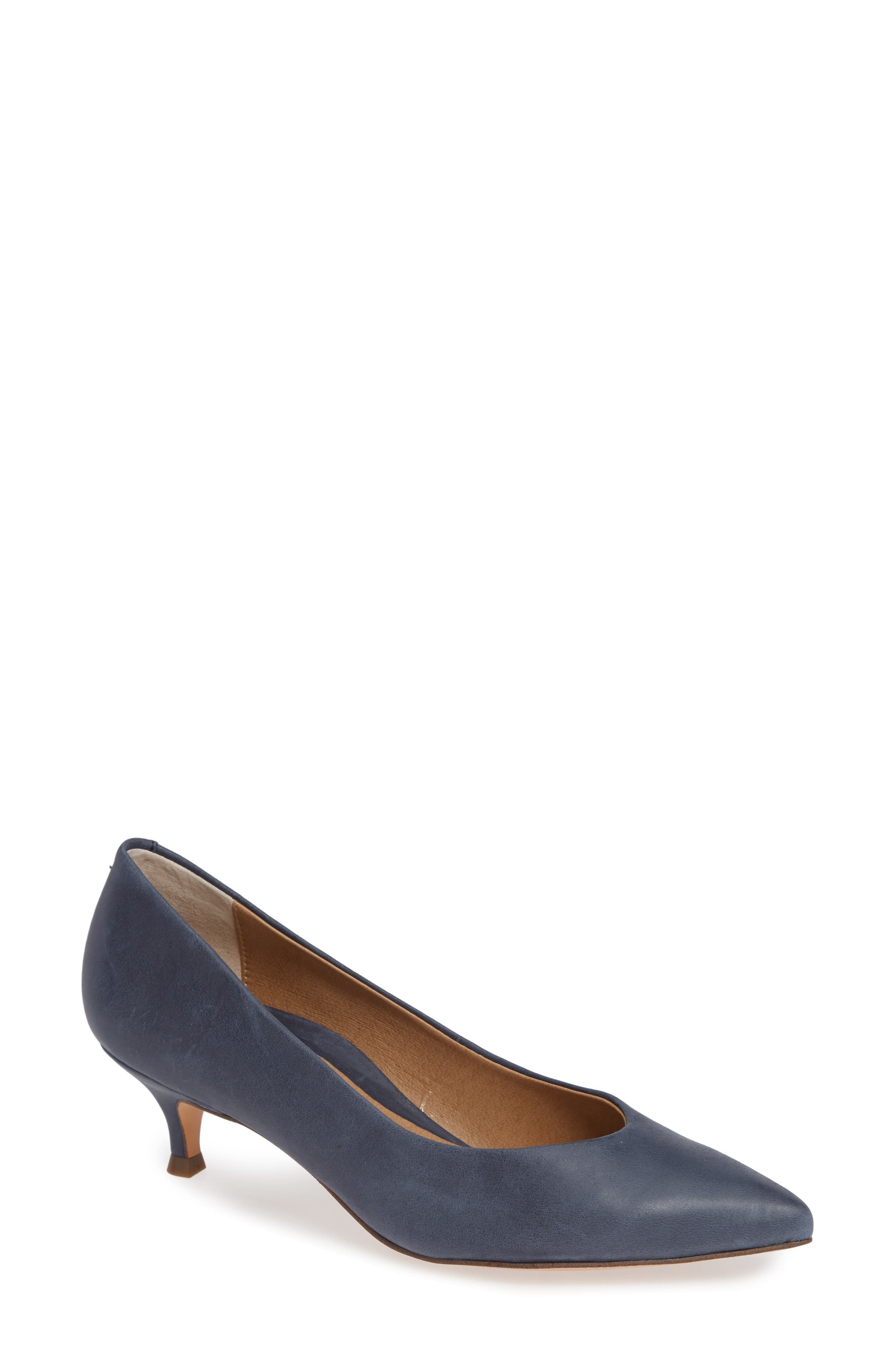 VIONIC, Josie Kitten Heel Pump, Main thumbnail 1, color, NAVY LEATHER