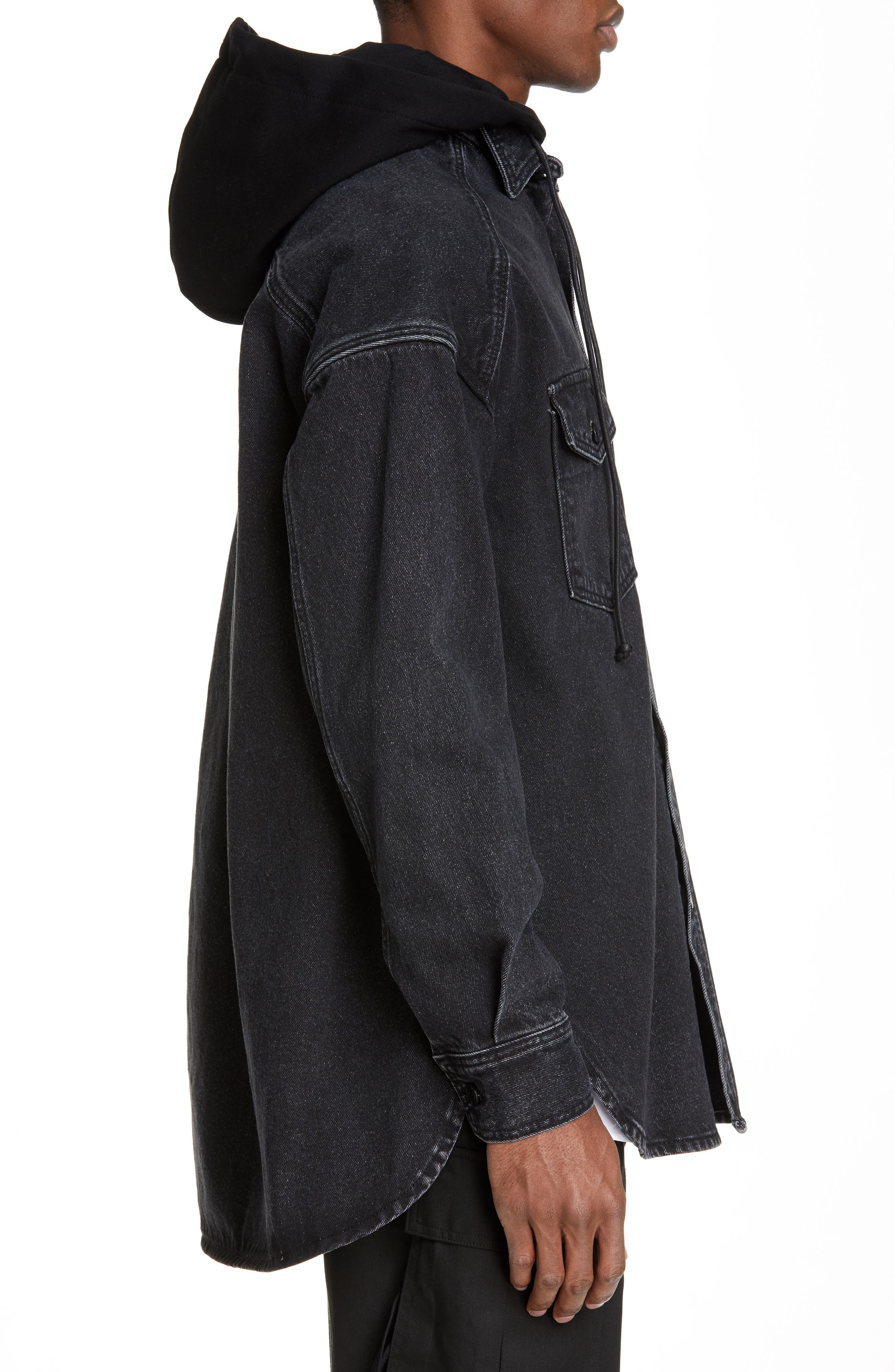 JUUN.J, Denim Shirt with Detachable Hood, Alternate thumbnail 4, color, BLACK
