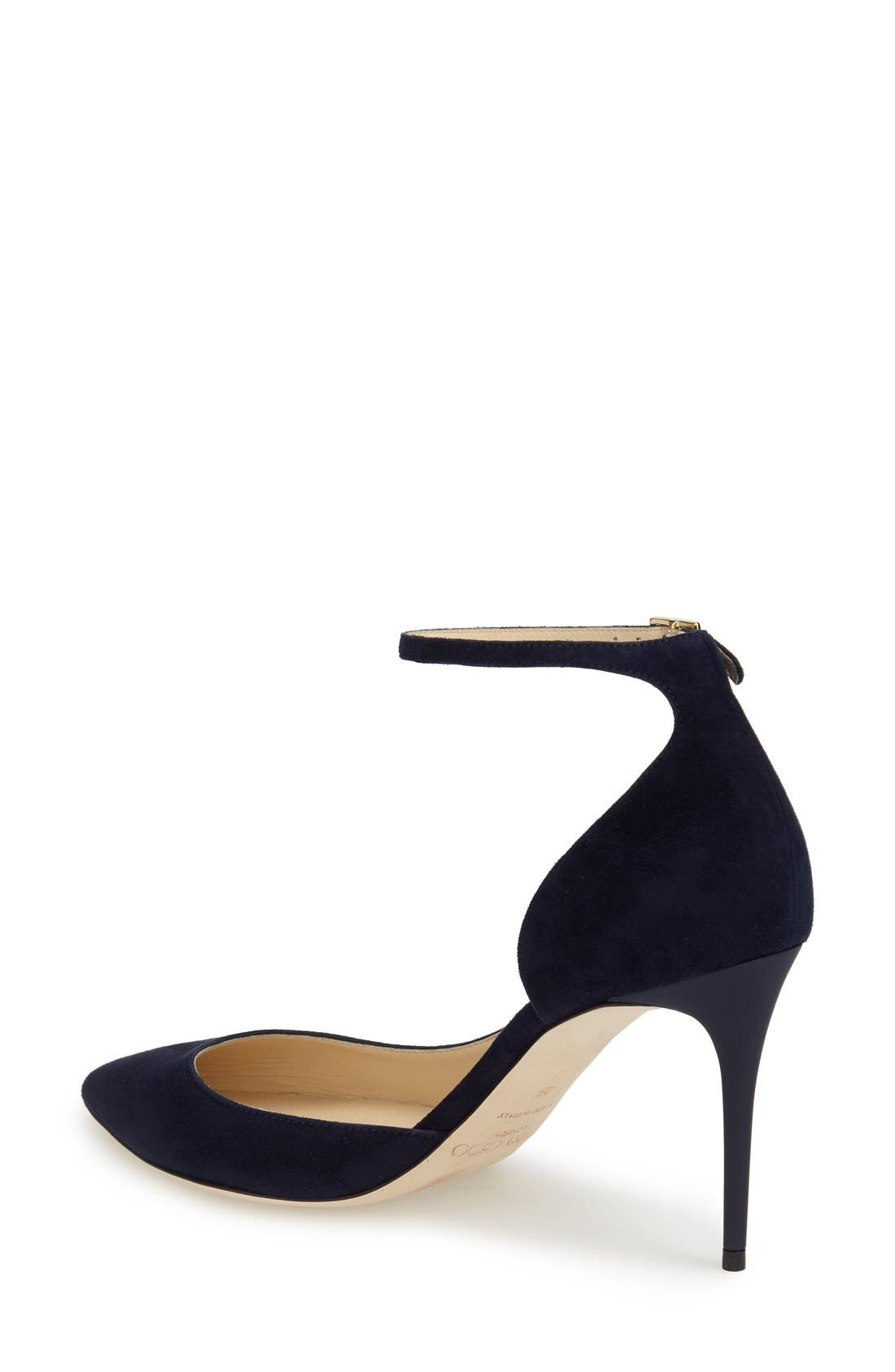 JIMMY CHOO, 'Lucy' Half d'Orsay Pointy Toe Pump, Alternate thumbnail 3, color, 410