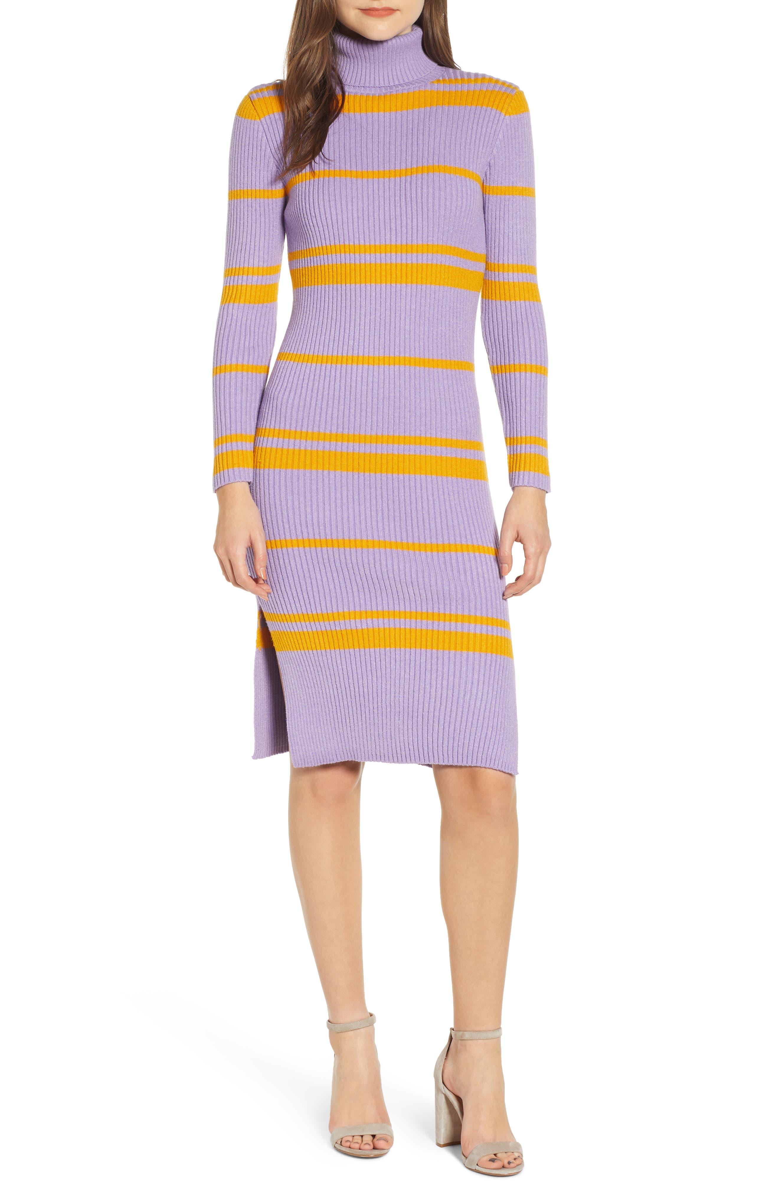 MOON RIVER Stripe Turtleneck Sweater Dress, Main, color, 500