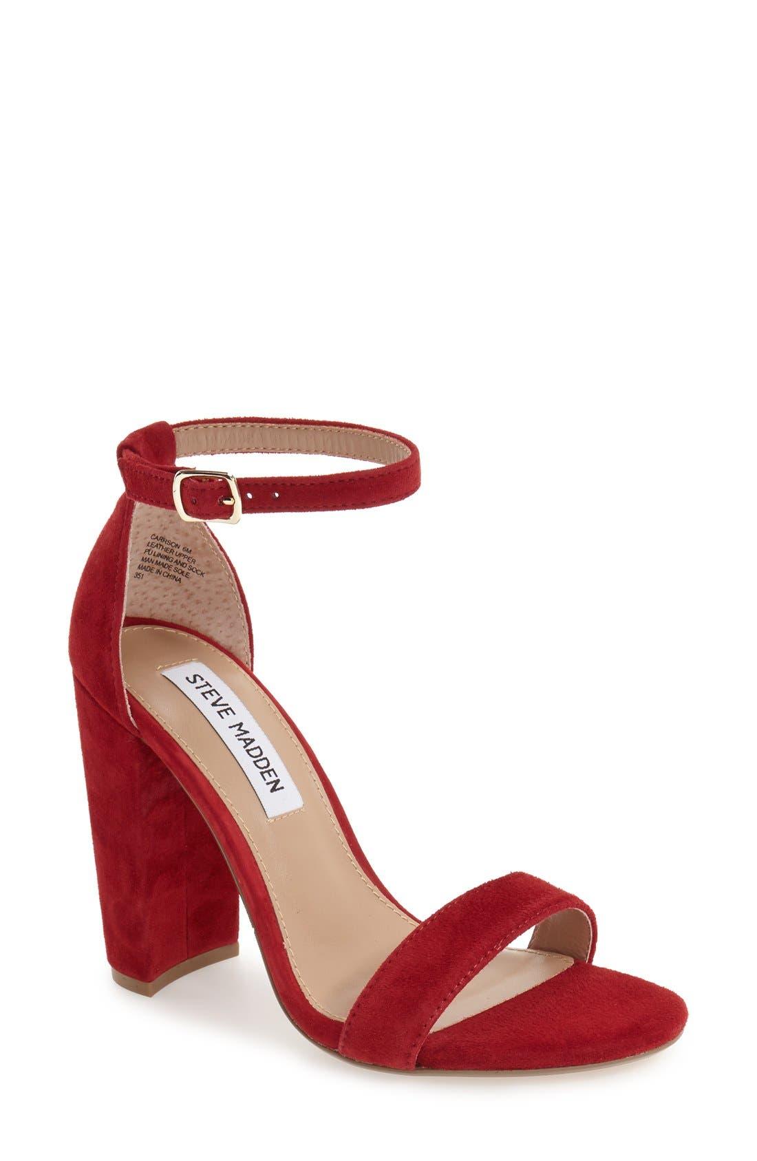 STEVE MADDEN Carrson Sandal, Main, color, DARK RED SUEDE