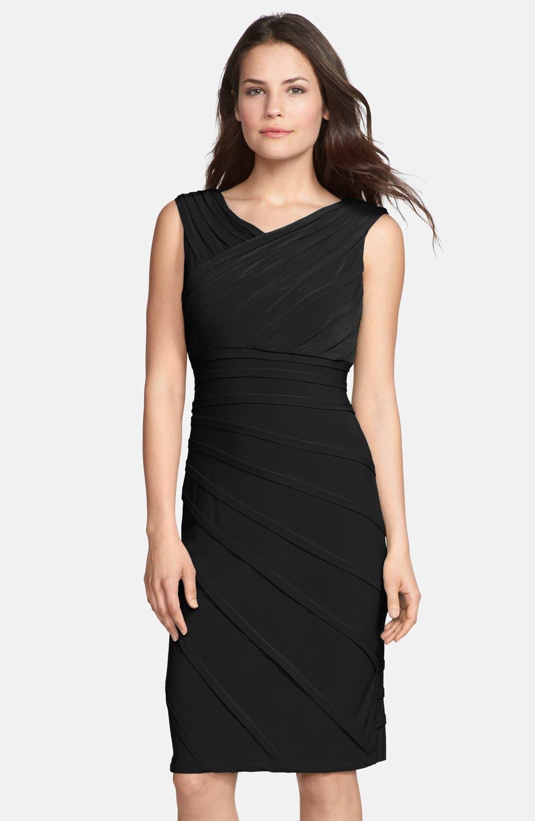 ADRIANNA PAPELL, V-Neck Shutter Pleat Sheath Dress, Alternate thumbnail 5, color, 001