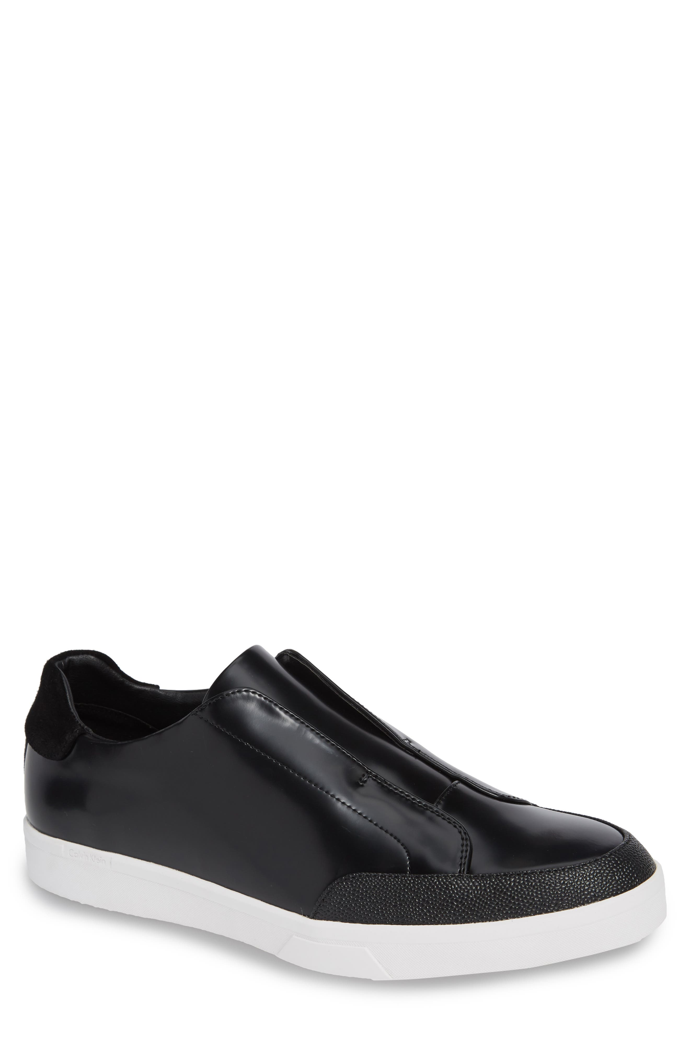 CALVIN KLEIN, Immanuel Slip-On Sneaker, Main thumbnail 1, color, BLACK LEATHER
