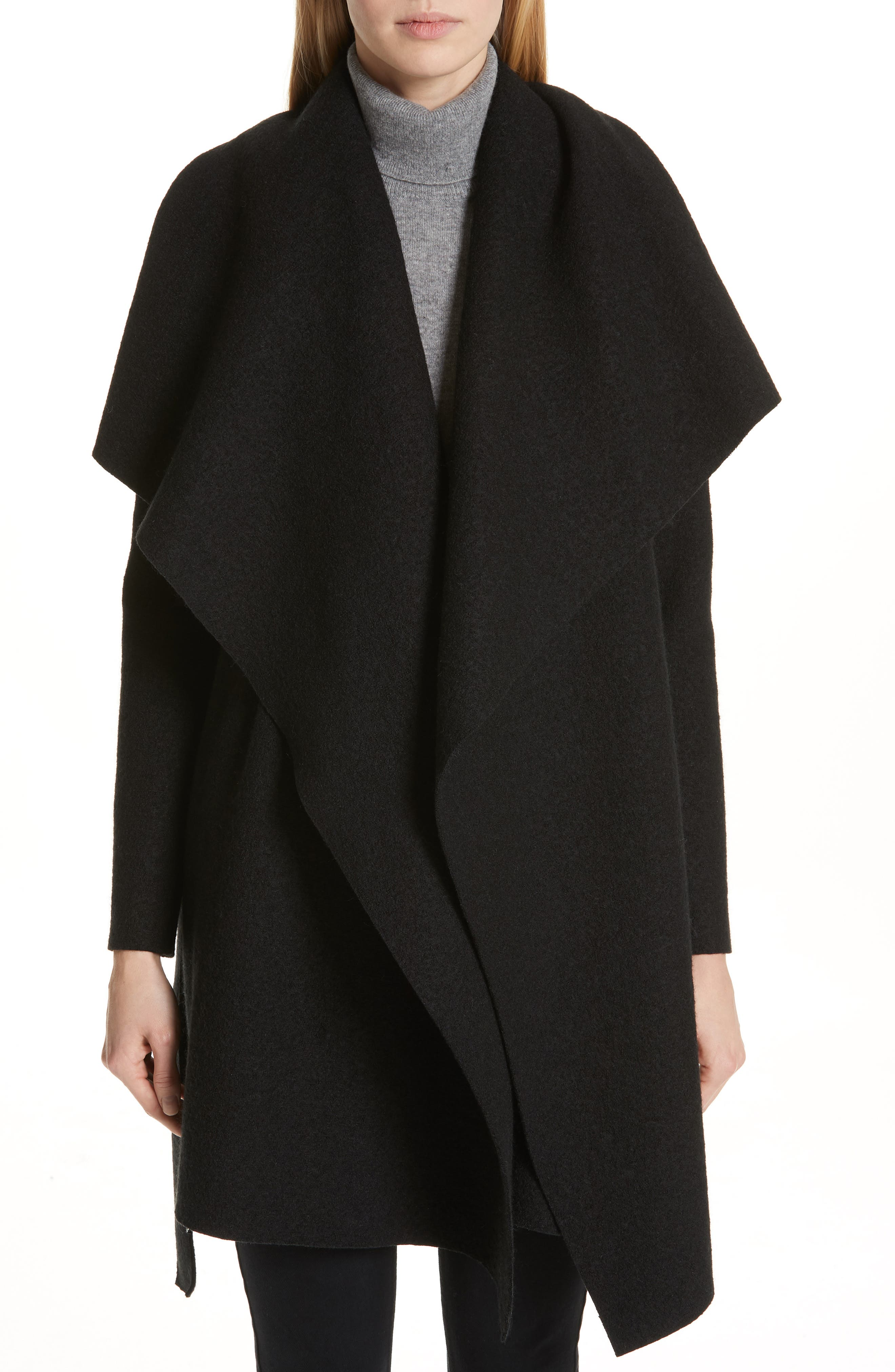 HARRIS WHARF LONDON Belted Wool Coat, Main, color, BLACK