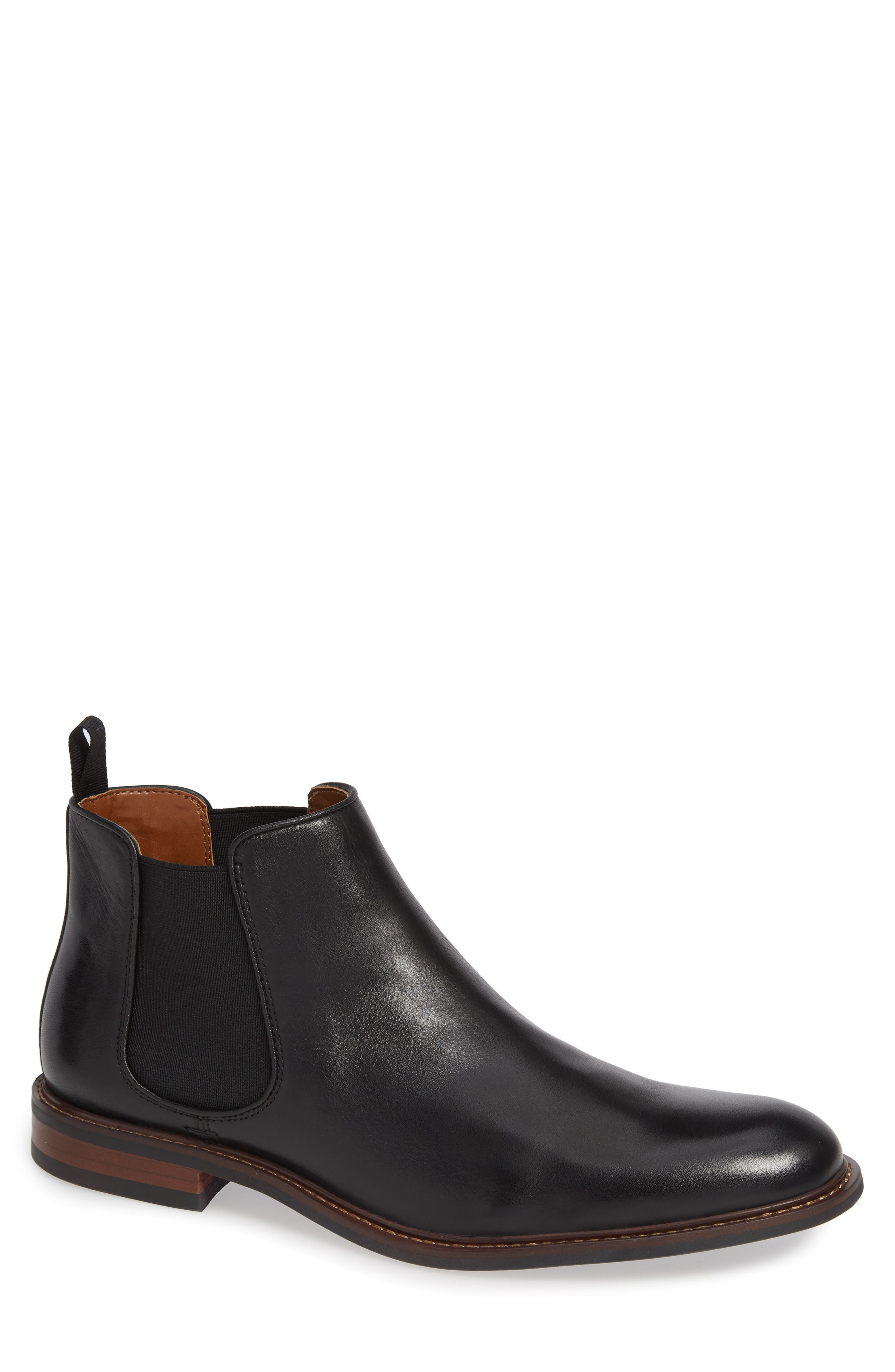 NORDSTROM MEN'S SHOP, David Chelsea Boot, Main thumbnail 1, color, BLACK LEATHER