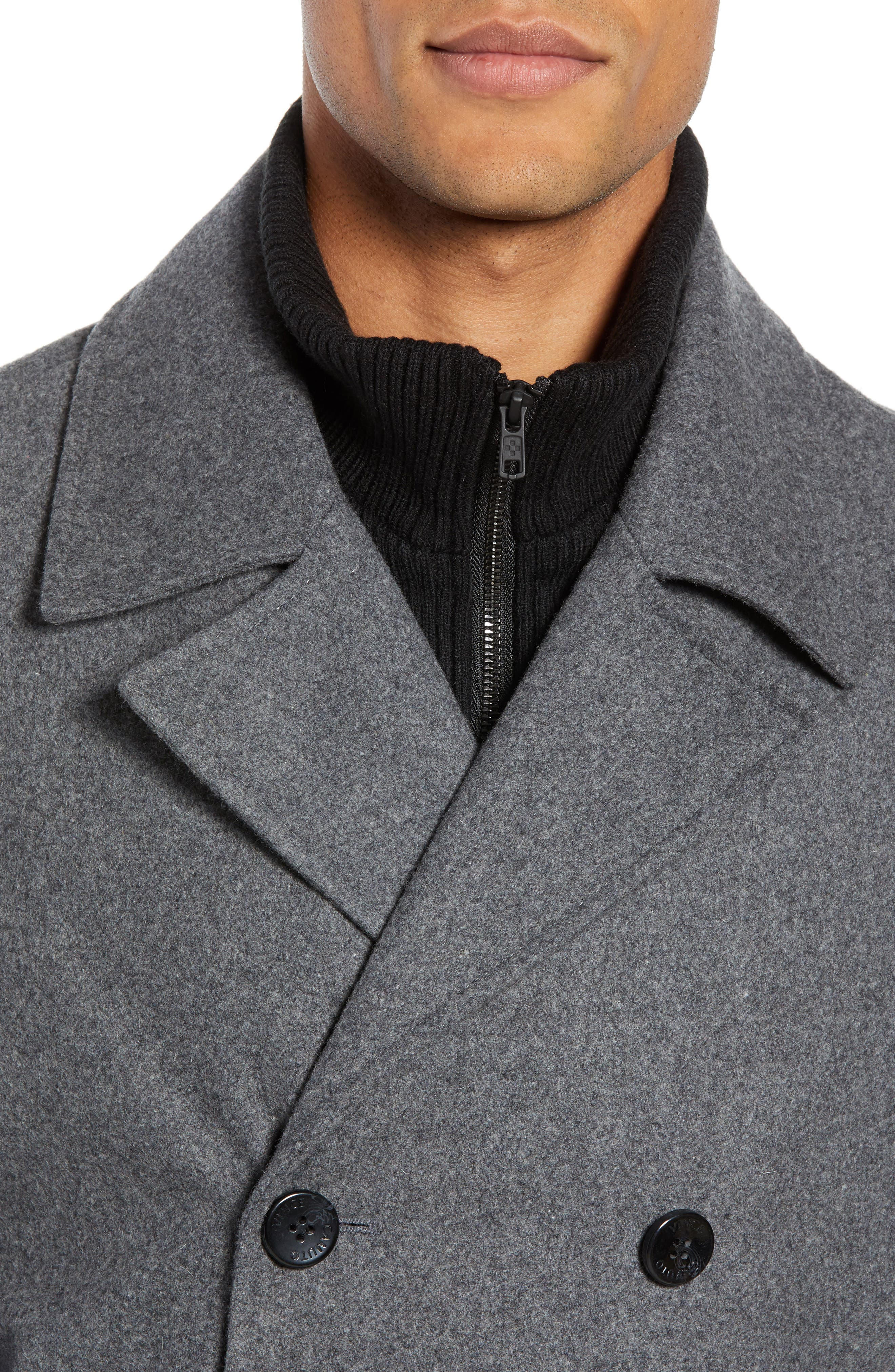 VINCE CAMUTO, Dock Peacoat, Alternate thumbnail 5, color, HEATHER GREY