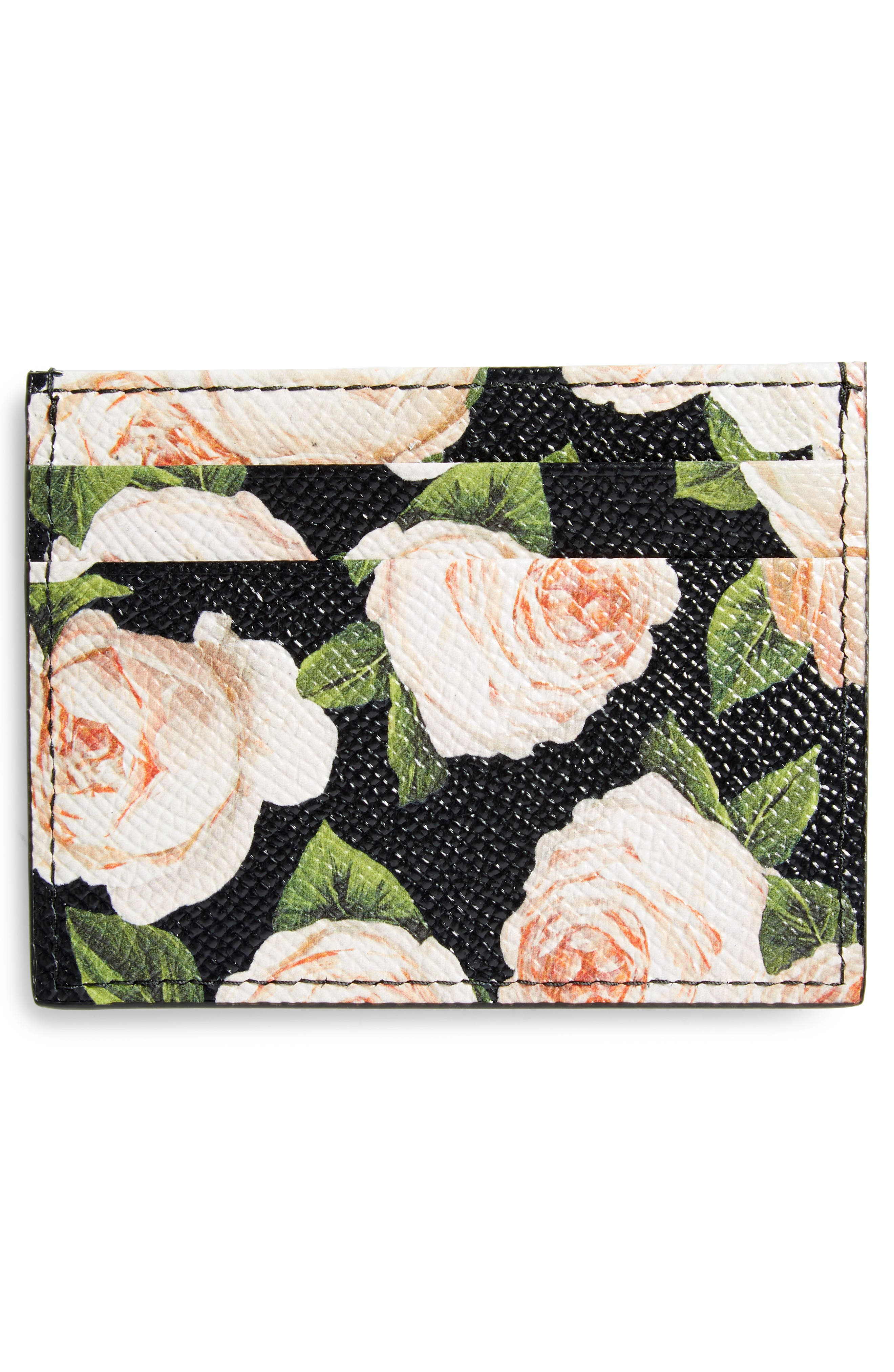 DOLCE&GABBANA, Rose Print Leather Card Case, Alternate thumbnail 2, color, 001