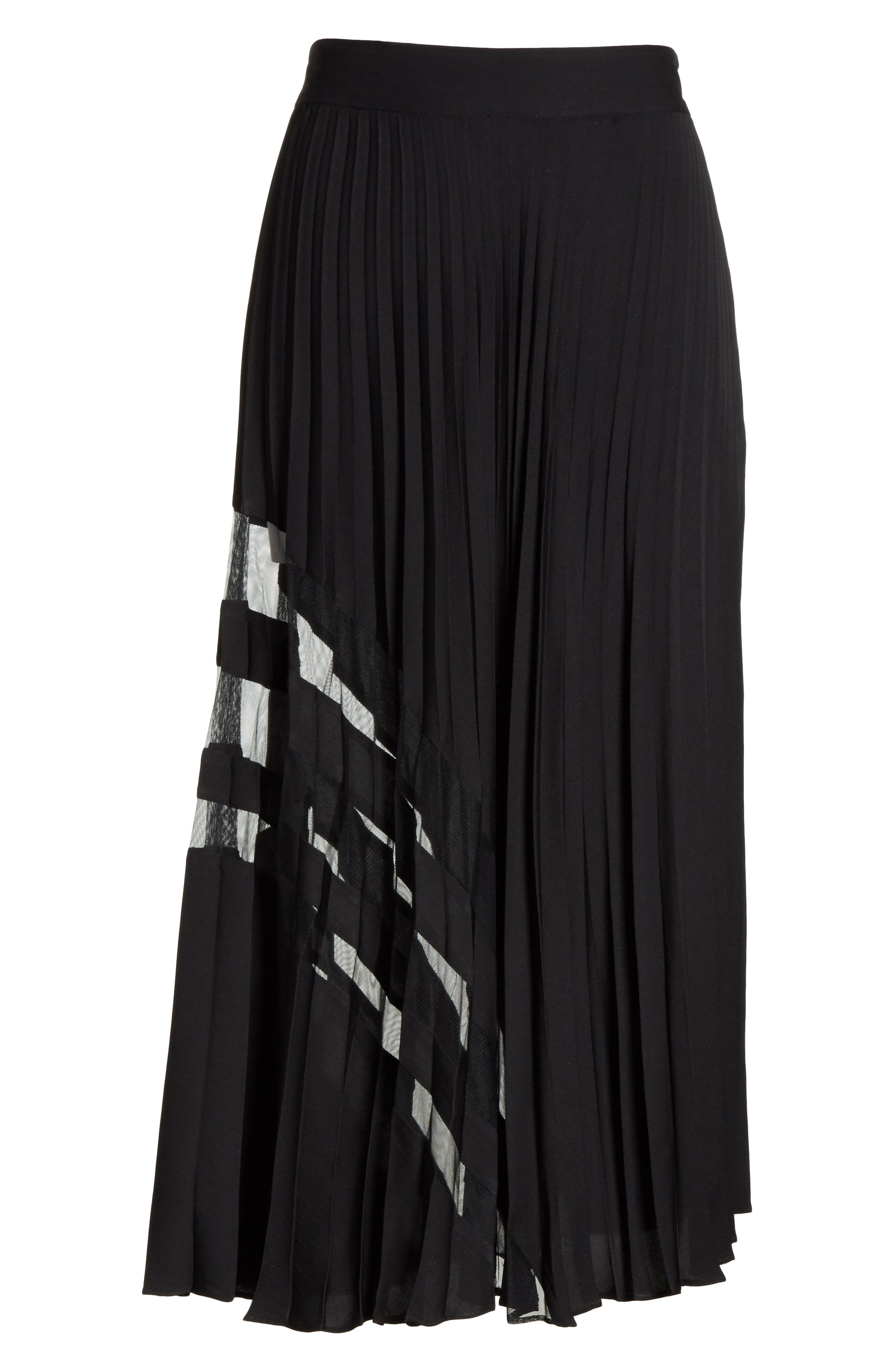 MILLY, Pleated Maxi Skirt, Alternate thumbnail 6, color, 007