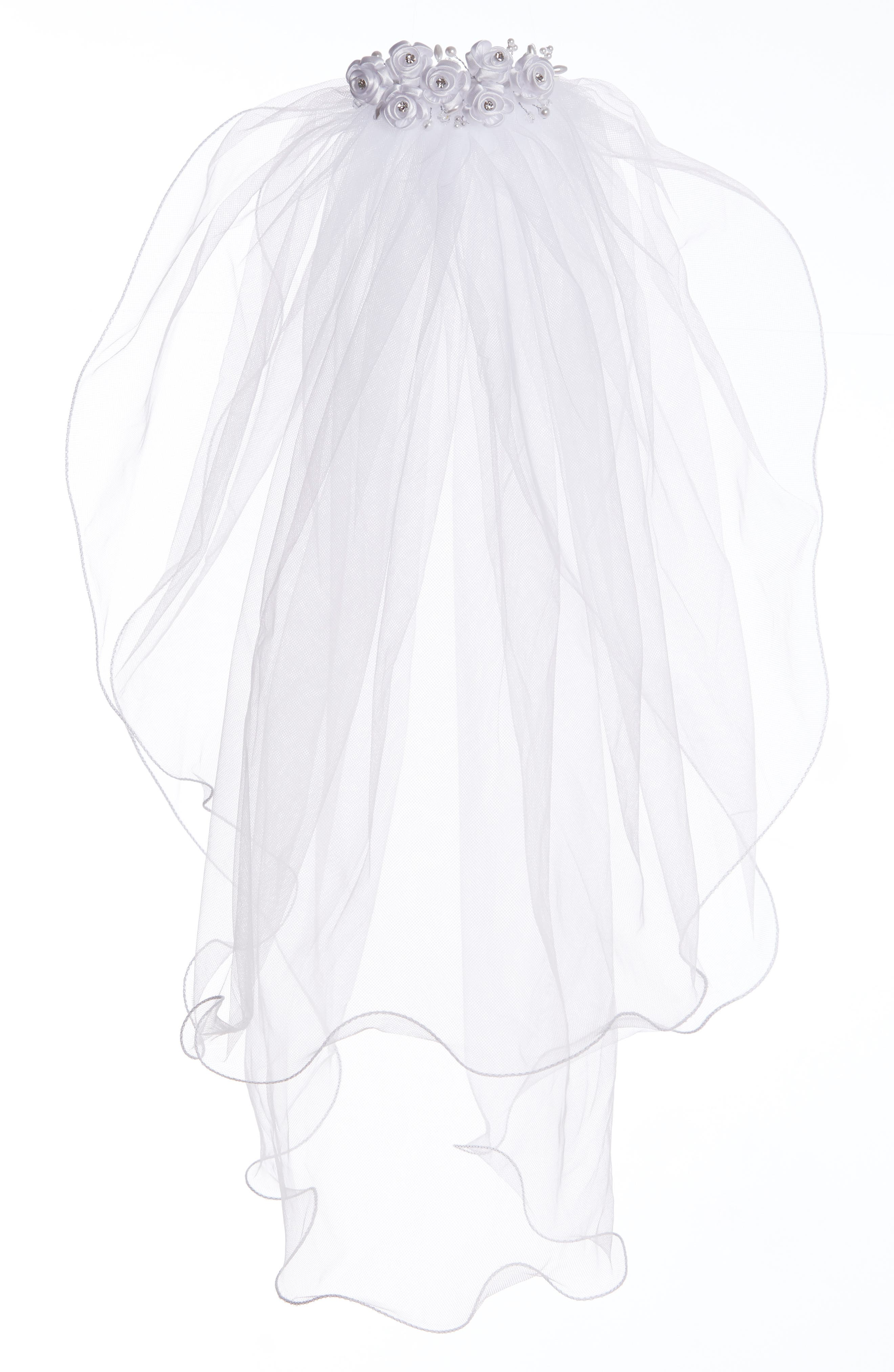 Lauren Marie Satin Rose Crown  Veil Size One Size  White