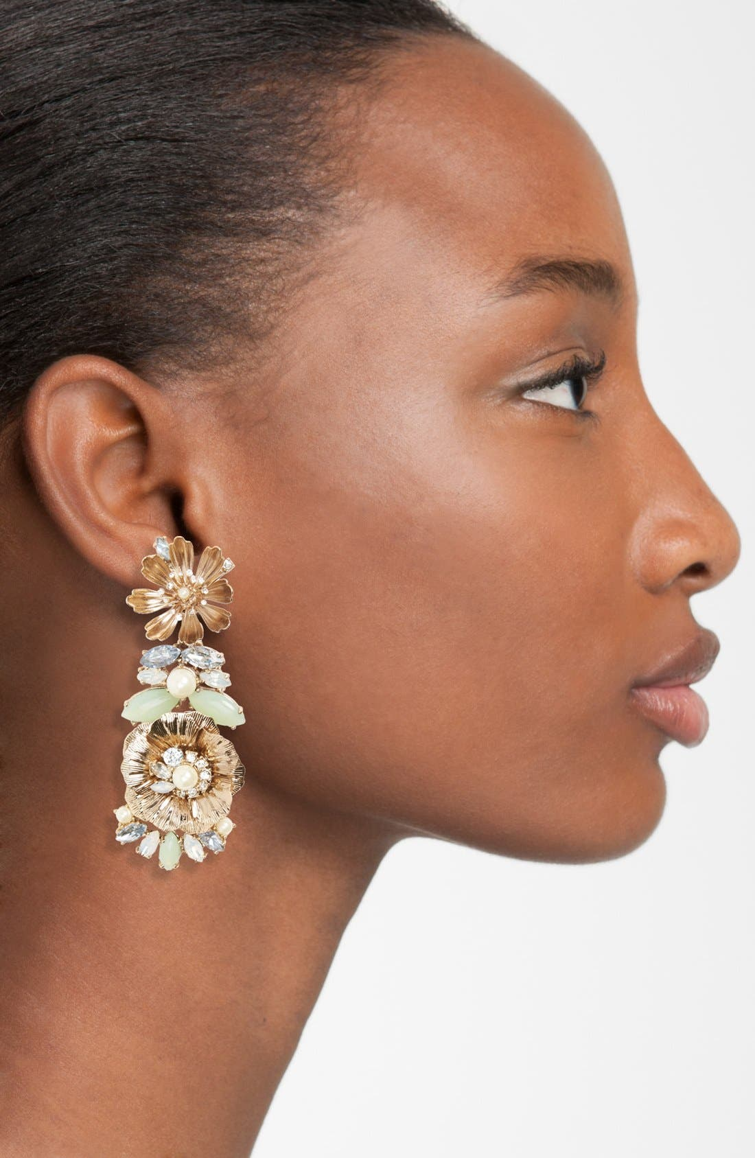 MARCHESA, Crystal Drop Earrings, Alternate thumbnail 2, color, 440