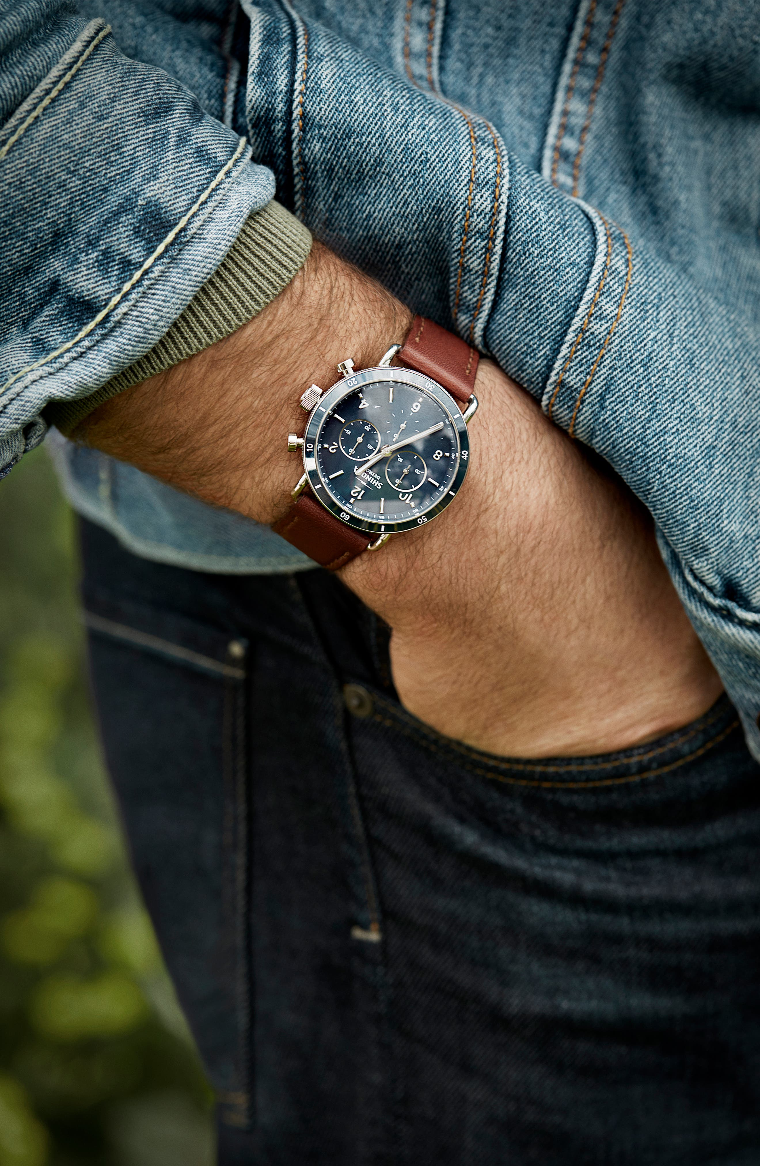 SHINOLA, The Canfield Chrono Leather Strap Watch, 40mm, Alternate thumbnail 5, color, DARK COGNAC/ BLUE/ SILVER