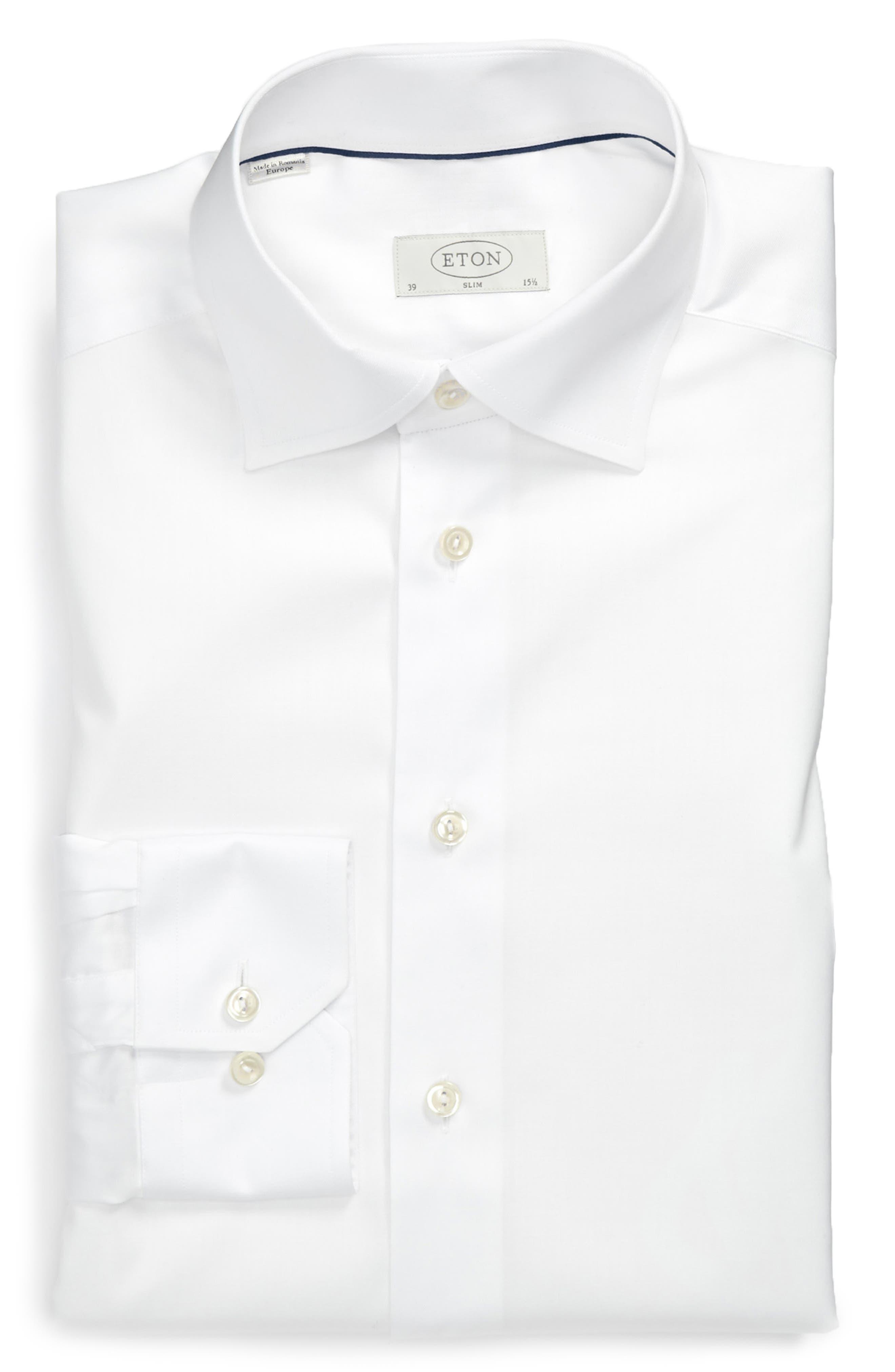 ETON, Slim Fit Twill Dress Shirt, Alternate thumbnail 2, color, WHITE