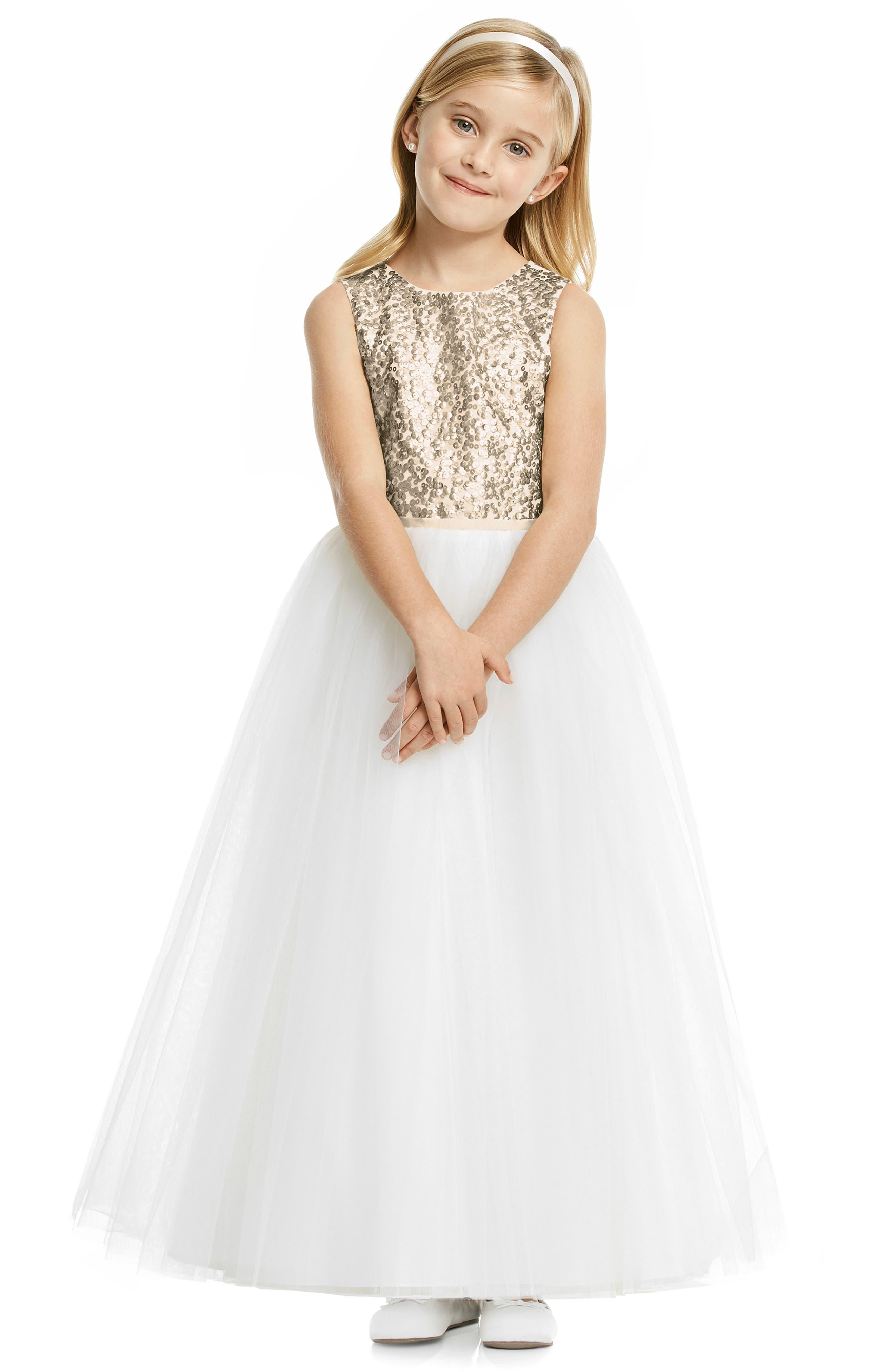 DESSY COLLECTION Flower Girl Dress, Main, color, IVORY/ ROSE GOLD