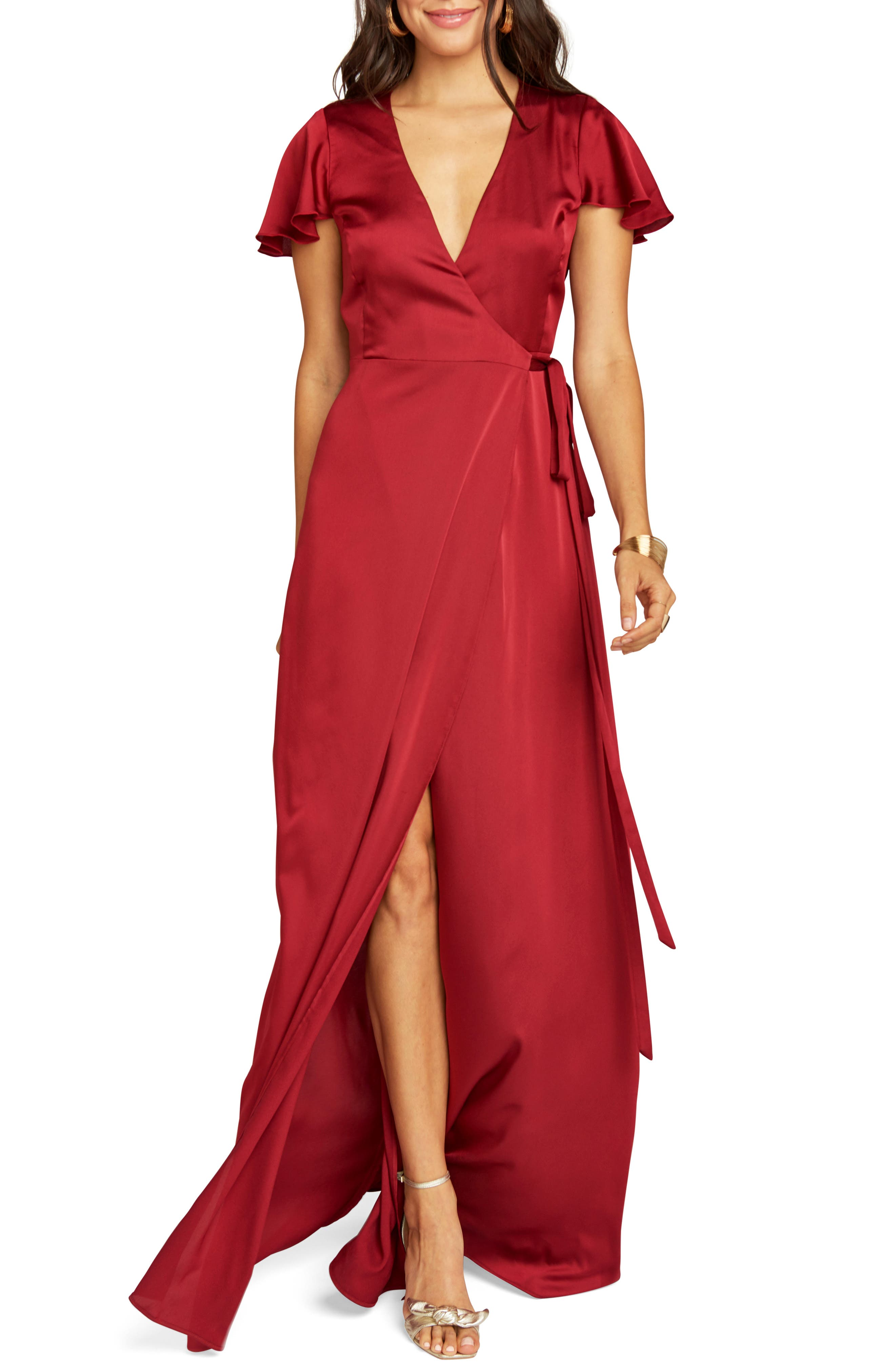 Show Me Your Mumu Noelle Satin Wrap Evening Dress, Red