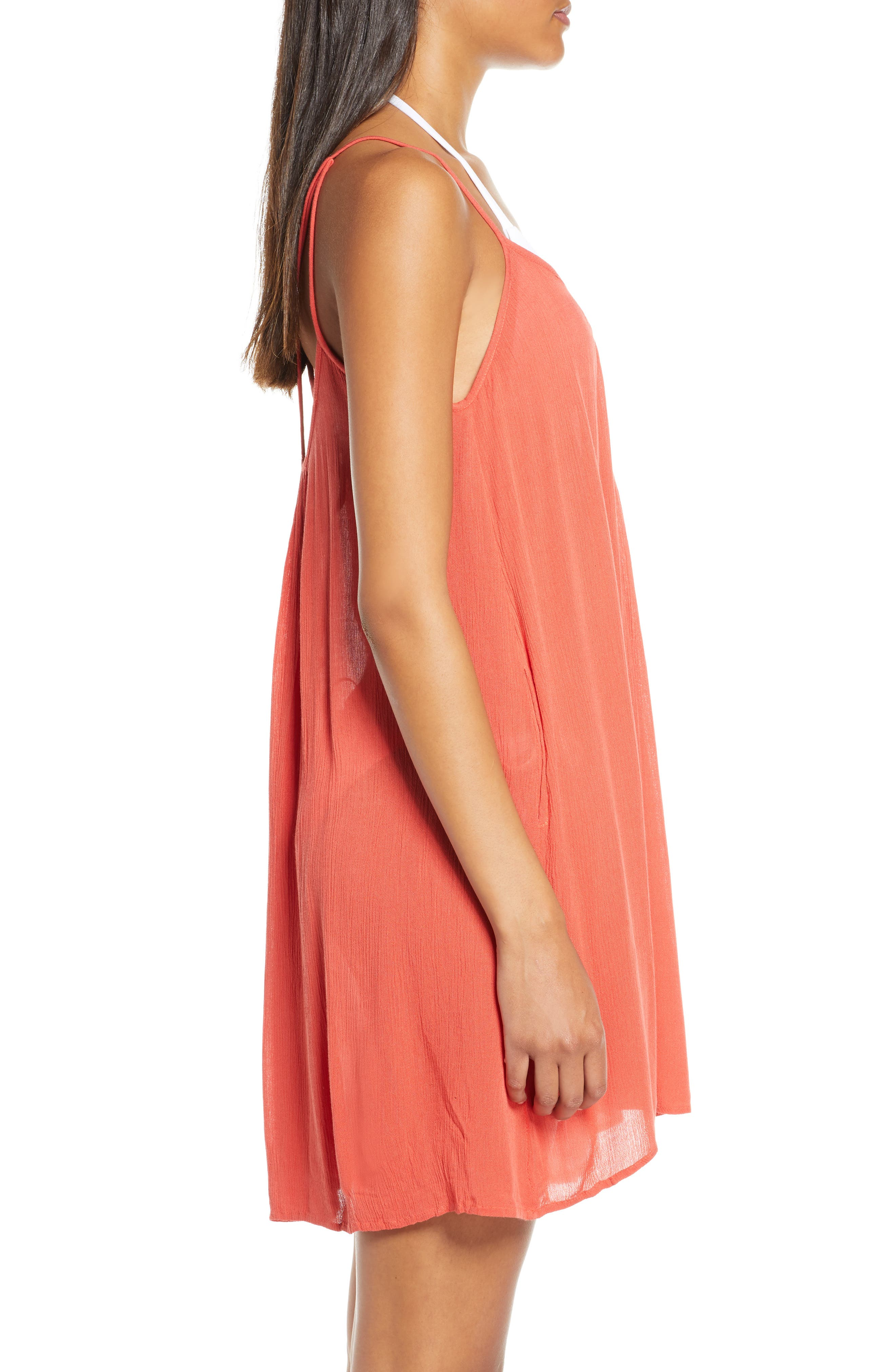 ELAN, Cover-Up Slipdress, Alternate thumbnail 4, color, CORAL