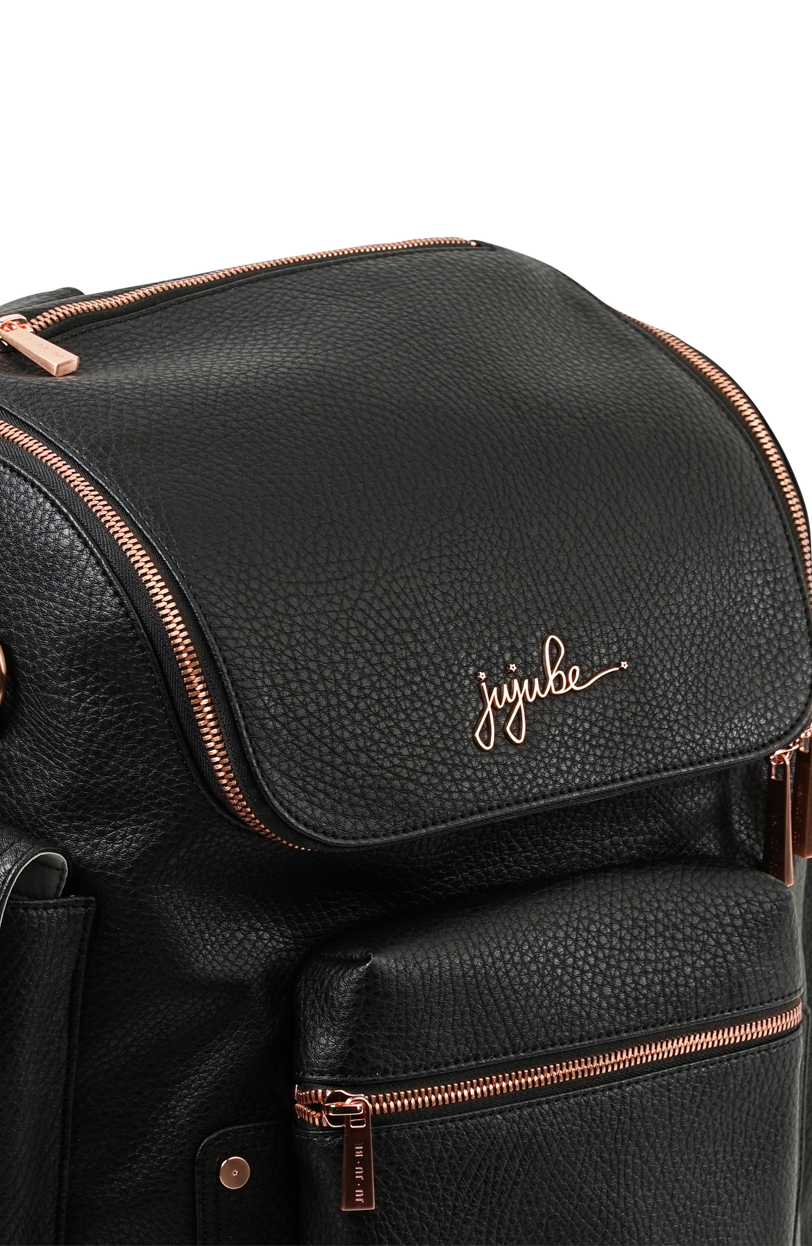 JU-JU-BE, Ever Collection Forever Faux Leather Diaper Backpack, Alternate thumbnail 4, color, NOIR NEW