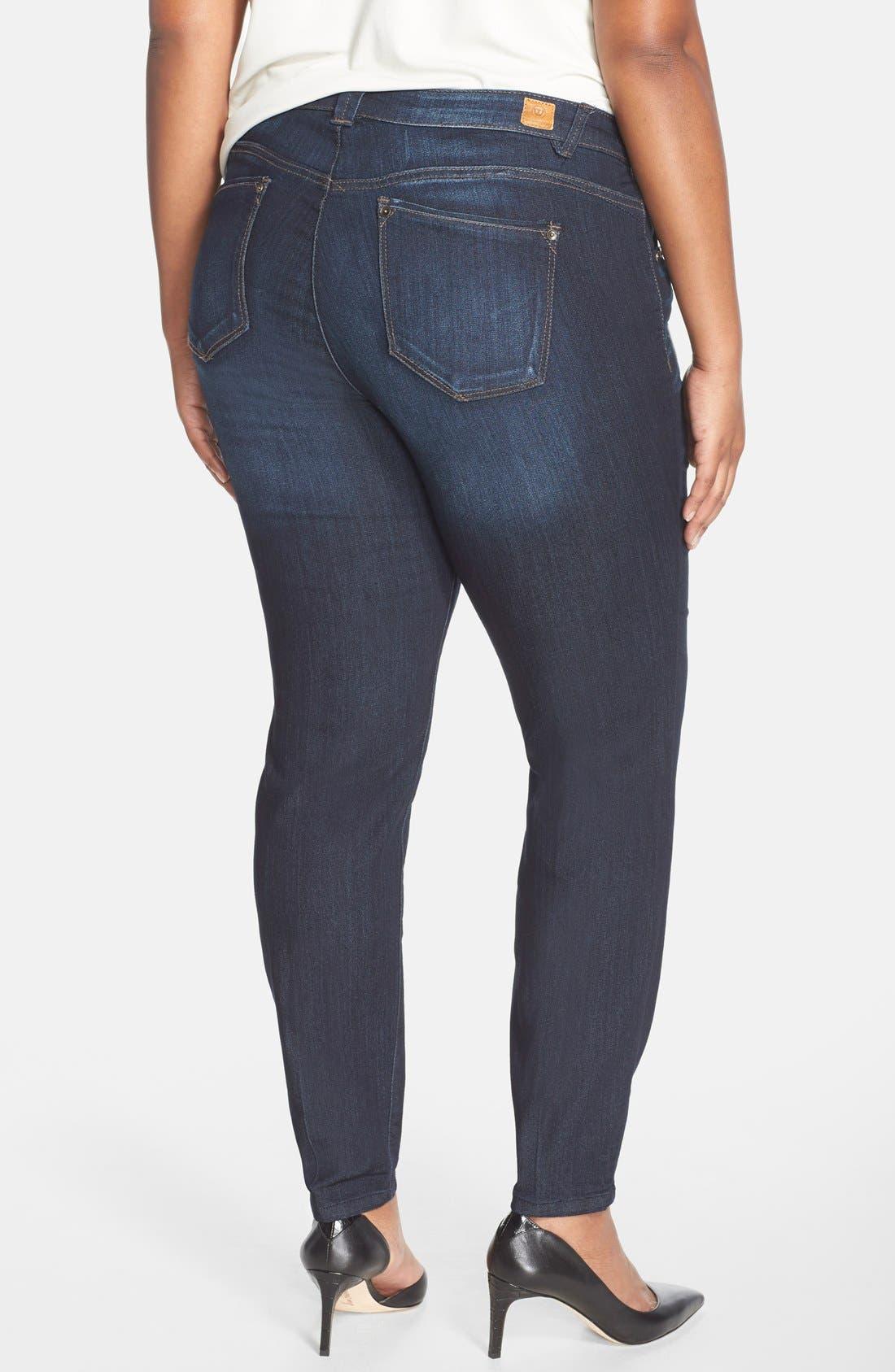 WIT & WISDOM, 'Super Smooth' Stretch Skinny Jeans, Alternate thumbnail 5, color, DARK NAVY