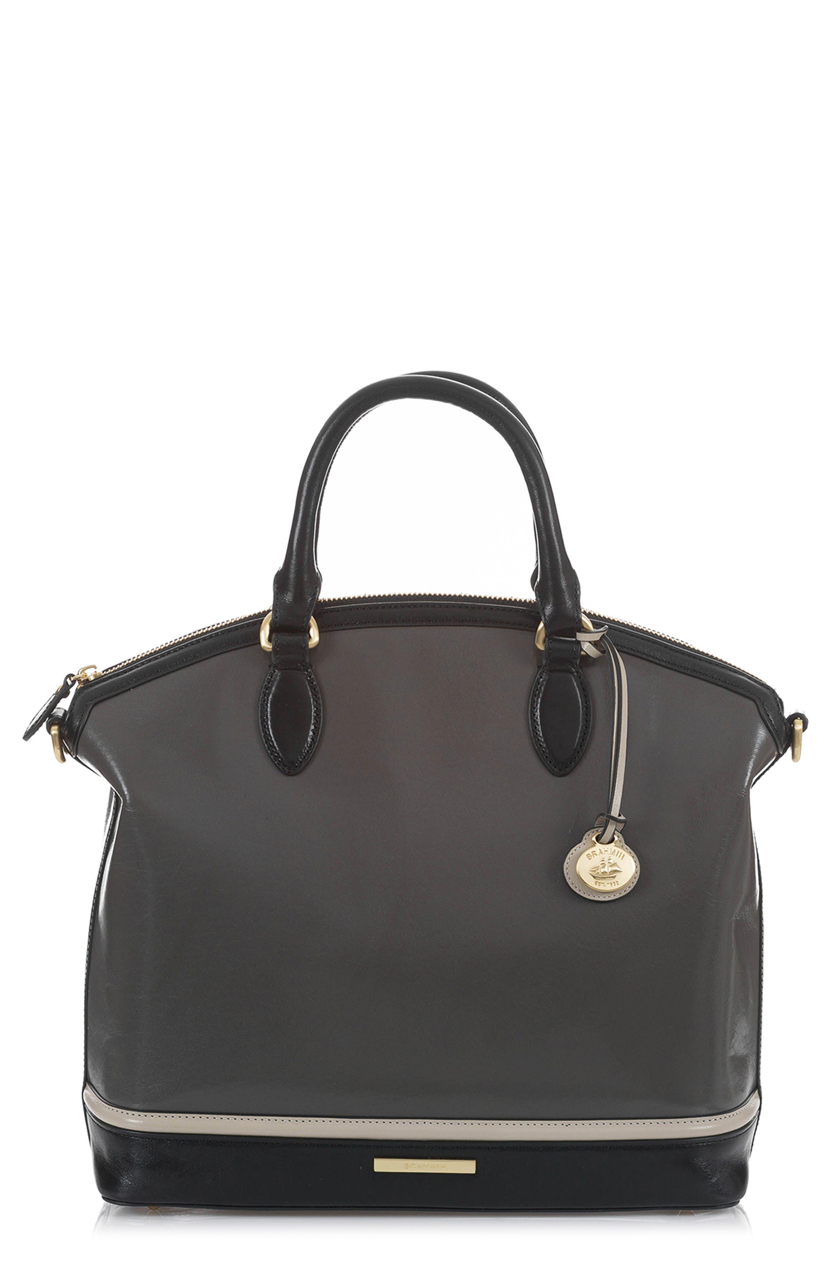 BRAHMIN Large Duxbury Leather Satchel, Main, color, CHARCOAL